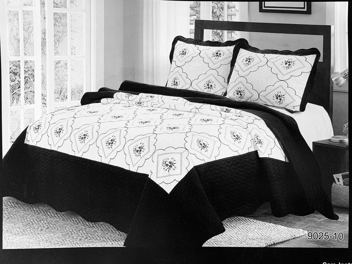 Beautifully Embroidered Quilted Floral Bedspread and Printed Bedspreads with 2 matching Quilted Pillow Cases  A stitched embroidered quilted bedspread consisting of embroidery on a white background and Square outer & inner quilted border Border.  Bedspread set Includes:  DOUBLE/KING (one size bedspread) can be fit on double or king size.  One Quilted Bedspread (Double - 84 x 96 inches) Two matching Quilted Pillow Cases (50 X 75 cm)  Care and Use: Machine washable on 40°C Wash dark colours