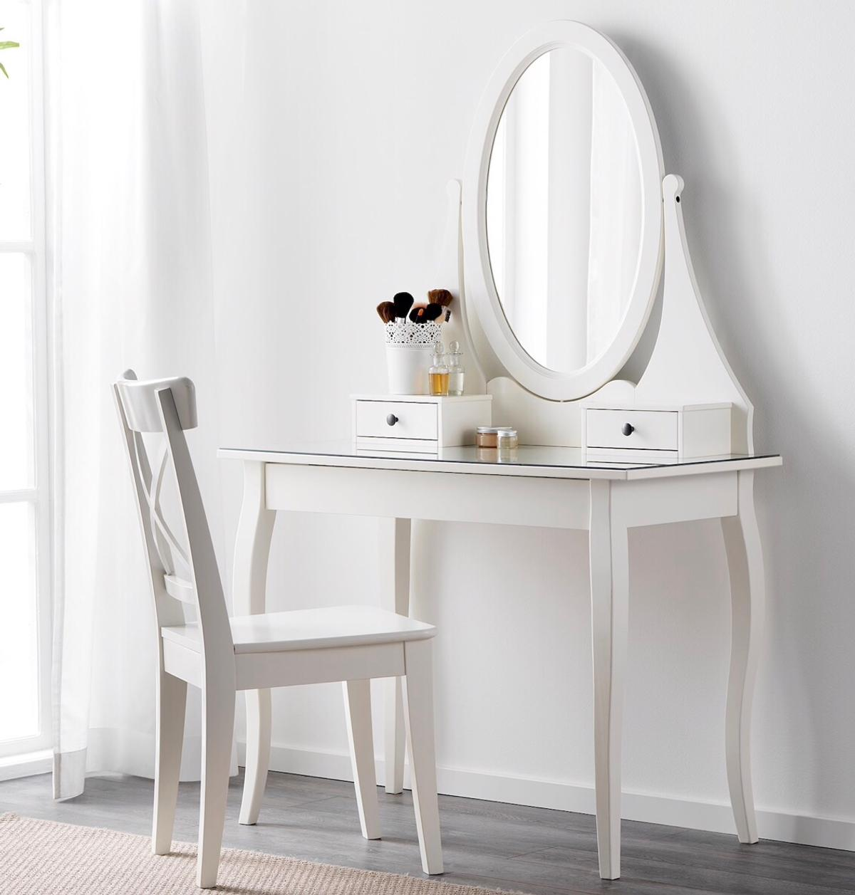 Color: white Dimensions: length 100x depth 50 cm x 74 hight without the mirror ( length of mirror is 84 cm)  Very elegant, the table top is glass and comes with 1 drawer and two small drawers as shown  In a very good condition except the mark as shown  Originally bought from Ikea for £165  Collection only.