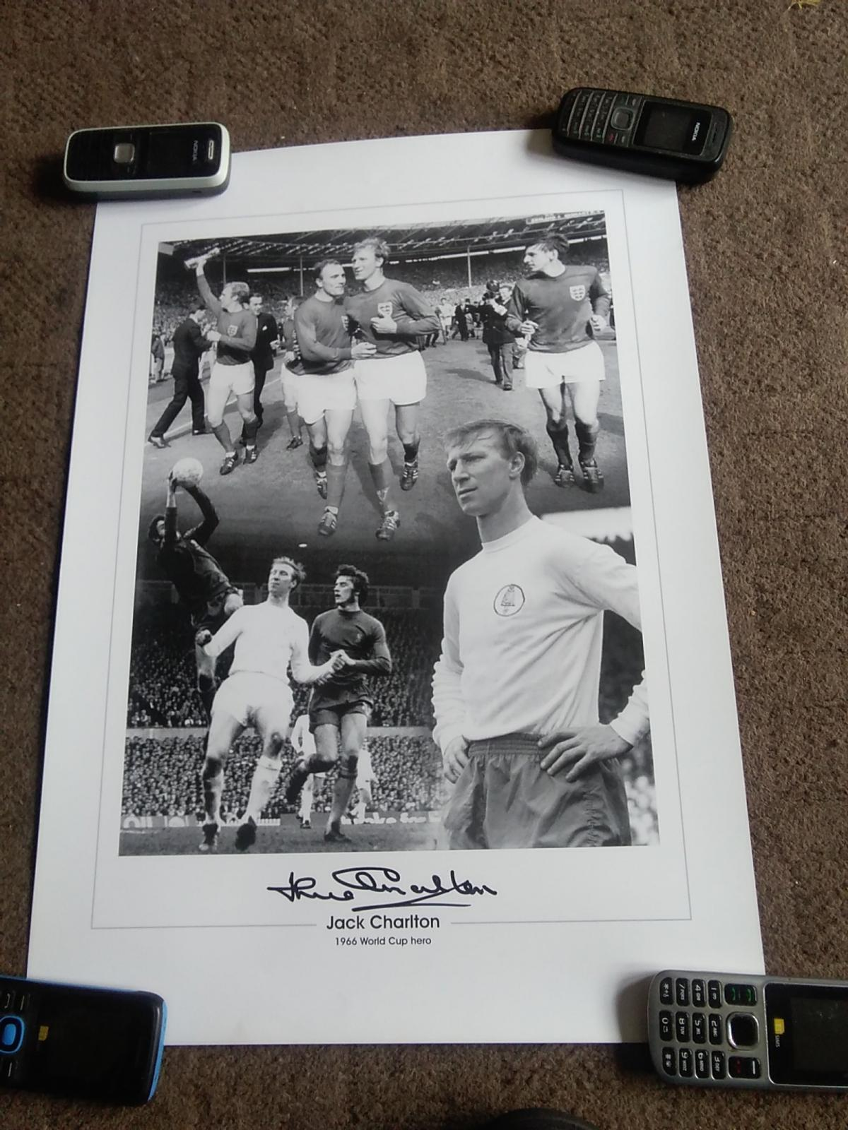 JACK CHARLTON HAND SIGNED LARGE MONTAGE PHOTO 20 INCHES X 14 INCHES 1966 ENGLAND WORLD CUP LEGEND EXCELLENT CONDITION PICK UP OR CAN POST TO YOU