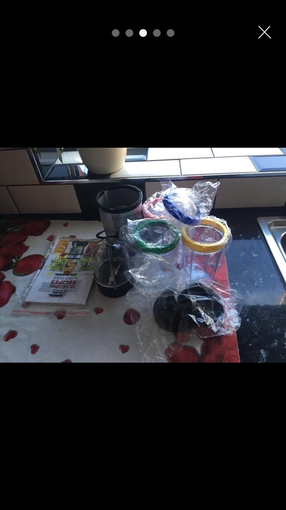 -LIKE NEW -Two blades that work -Blender has been used but the extras are still in original packaging never touched -No damage to blender except for a piece inside that came off but doesn't effect the performance of the blender -Works perfectly fine -Can do DELIVERY (not £14) or COLLECTION NO SPICE MIXER BLADE