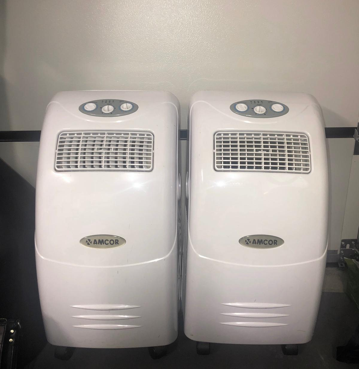 2 Amcor Air Conditioning Units willing to sell together for £400 or separately for £230 each. In excellent condition, they work perfectly. No longer need as we have air conditioning installed now. Originally bought both for £1200. Please note the cooling capacities on both the items are different. Comes with all original accessories and instruction manual. CASH payment only and pick up located in Surrey