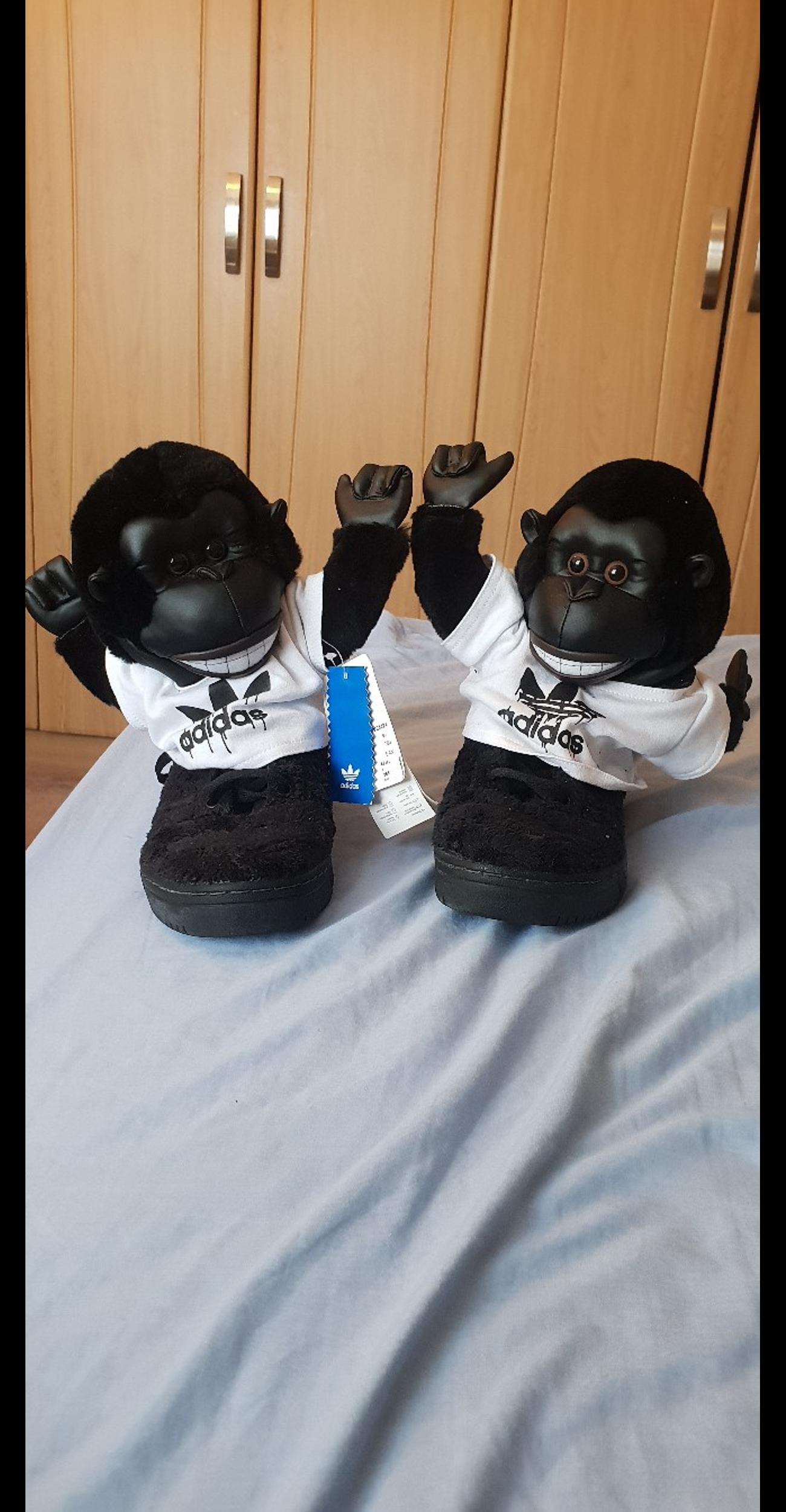 brand new rare trainers for sale. worth a lot of money if you check online and very hard to get hold of in particular sizes. the t shirt on the monkey a little dusty as kept in storage but otherwise brand new never worn