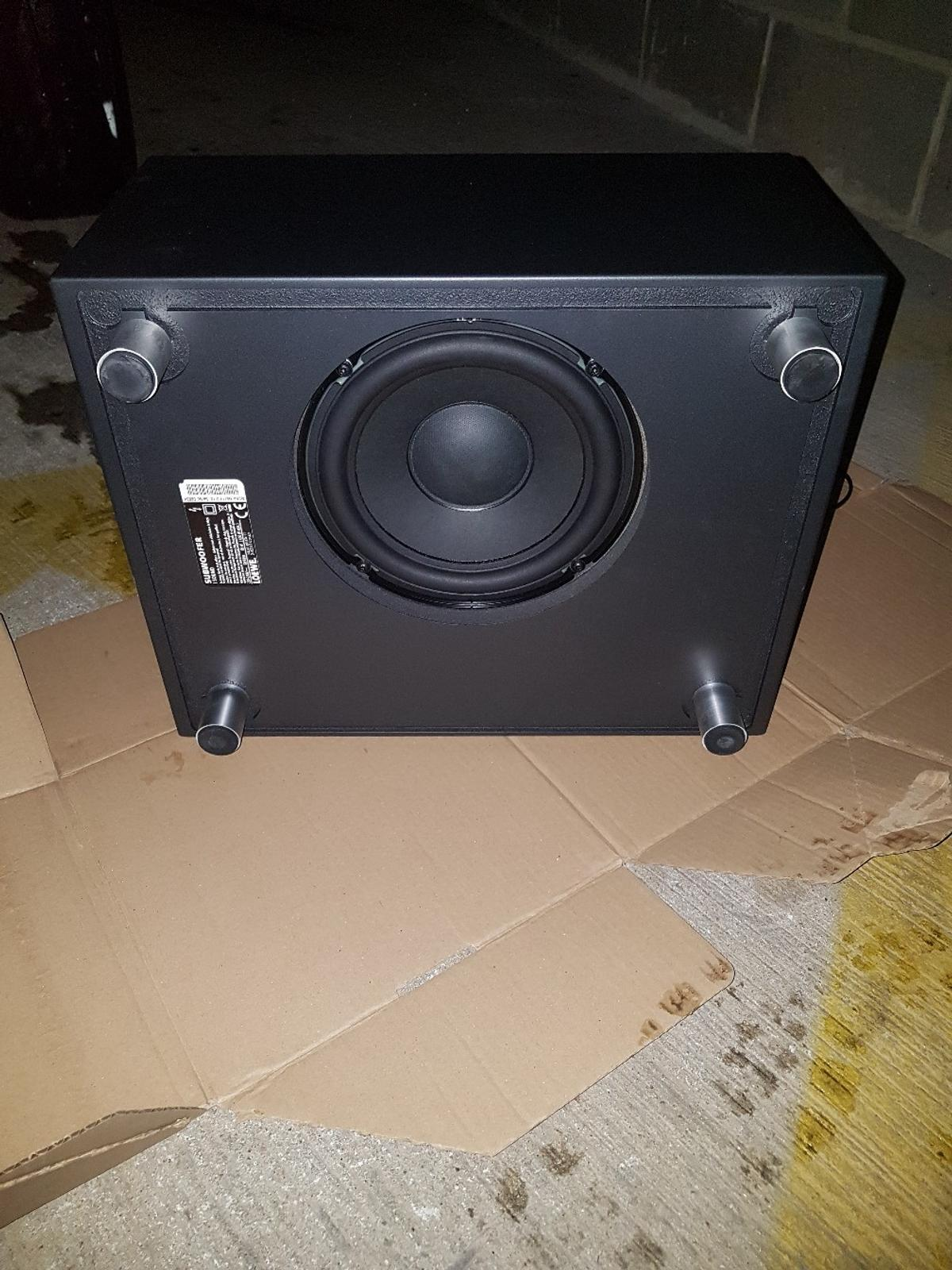 Home subwoofer it is as good as new the problem is where u connect the wire at there r 3 clips missing but it still works fine.