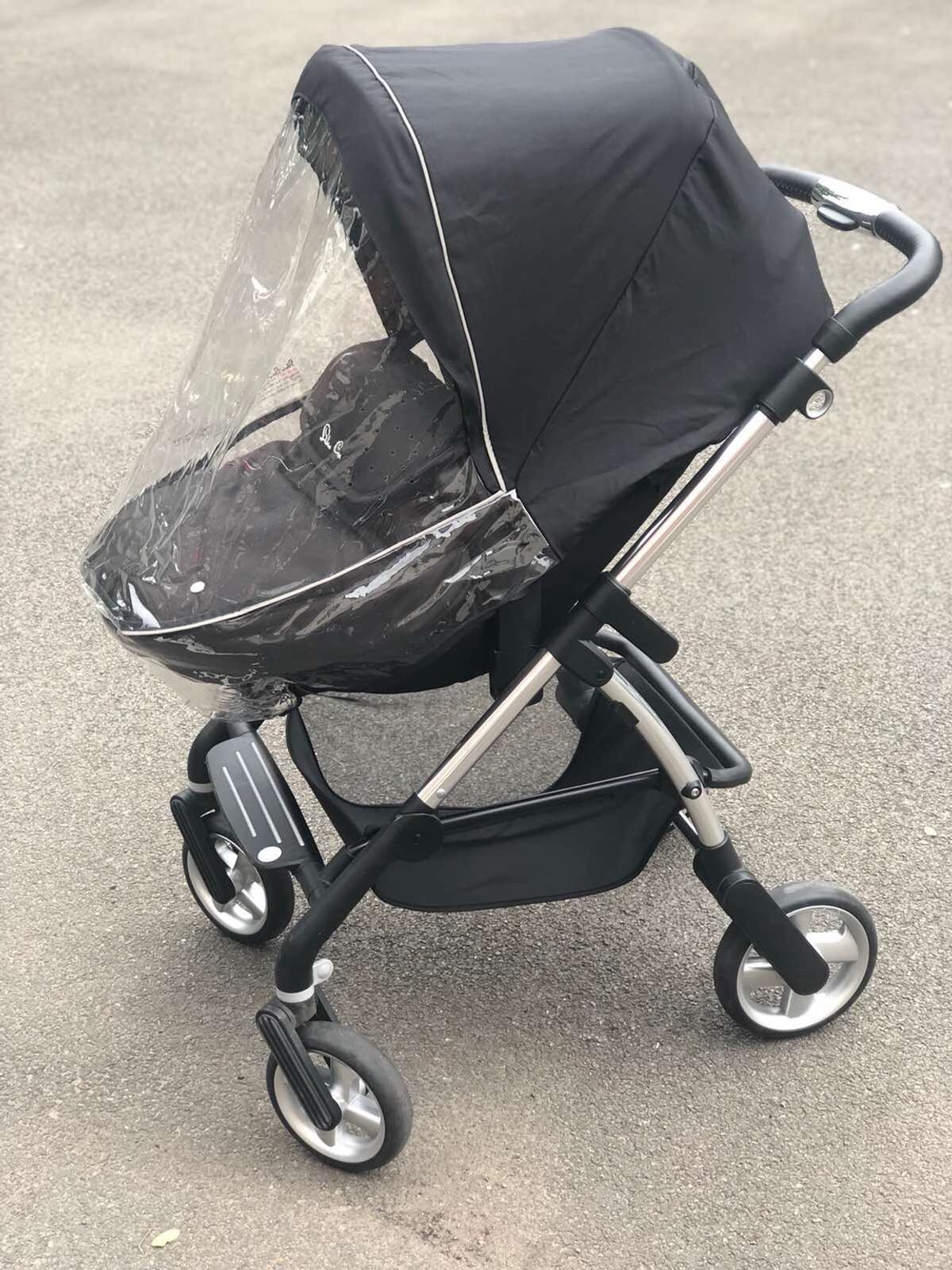 The Pram and carry cot with rain coat are available in a very good and sturdy condition, with only few scratches on the handle. The cot is very comfortable and clean.