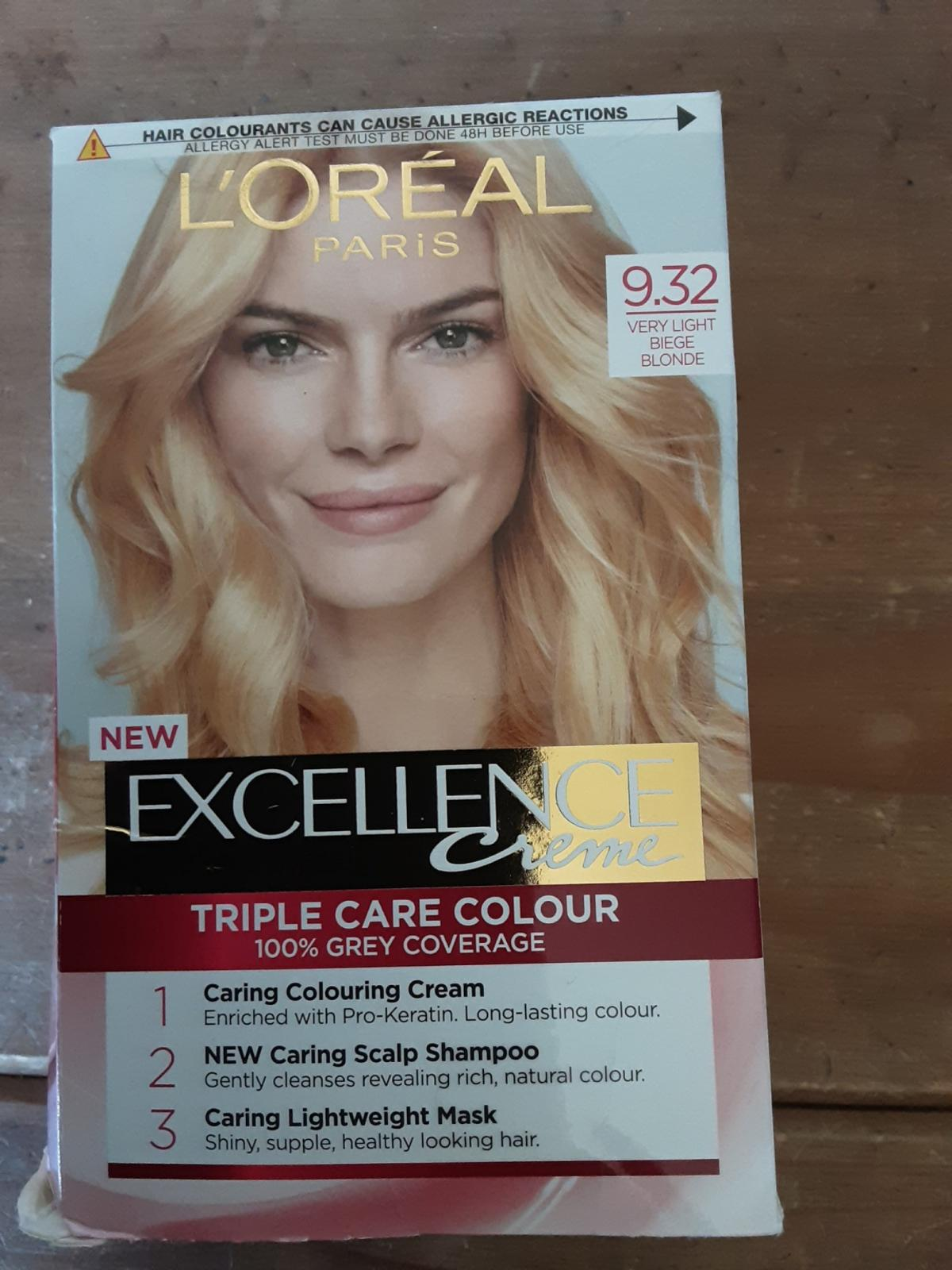 Excellence hair colour 9.32 very light beige blonde, ordered this online but wrong colour.