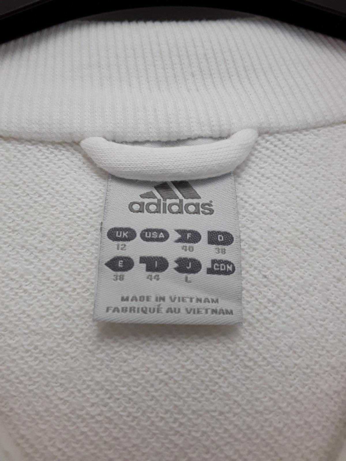Adidas Sports Top. Full Zip. White. Size 12. ♧ Please view my other items for sale