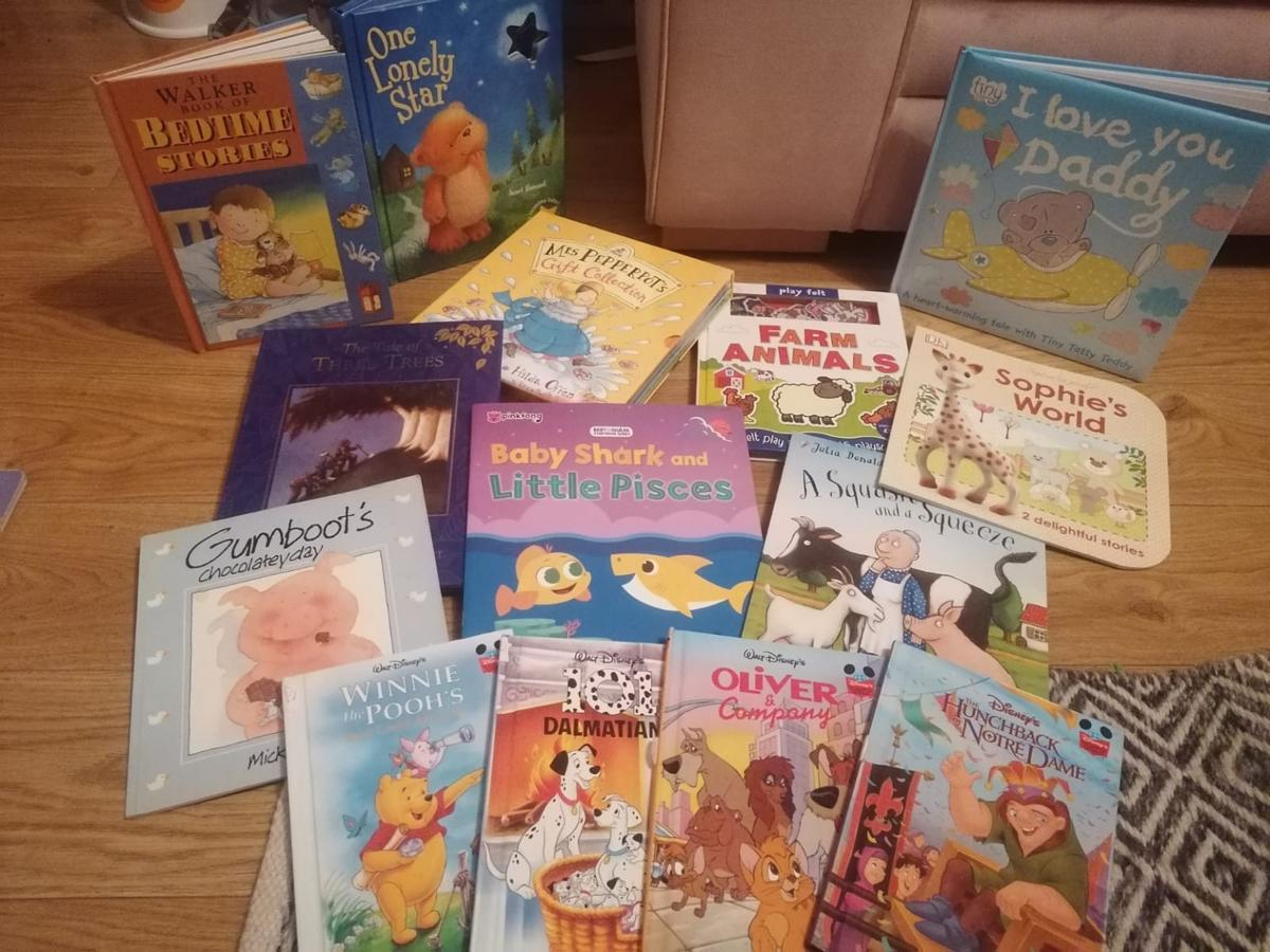 a range of books including Disney, baby shark, Julia Donaldson. mixed condition