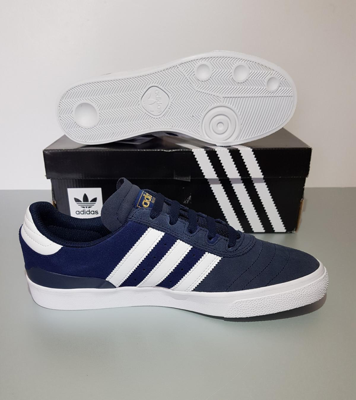 Men Adidas Busenitz Vulc Trainers  Size 8.5 UK  Brand New in Box with Tags  The men's adidas Originals Busenitz Vulc shoes treat the popular skate shoes to a technical upgrade. They feature a smooth all-suede upper, comfy moulded sockliner, supportive GEOFIT™ collar cushioning and a new Vector Traction outsole with a grippier tread design.  Postage costs are £4.10 Royal mail 2nd class recorded delivery. Collection in person is more than welcome.  Please take a look at my other items.
