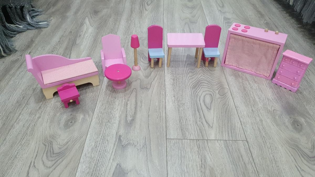 Hi I'm selling Doll House Furniture, it's have Table,Two Chairs, one Lamp post, one sofa, Small Bed and many more you can see in pictures, it's used item,buyer have to collect only.