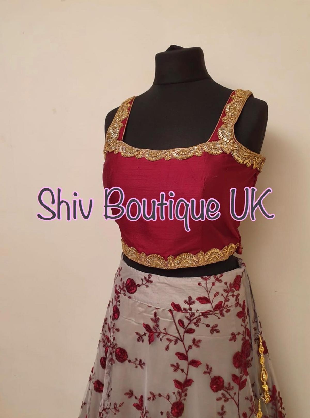 "Brand new Ready made Indian Asian Lehenga Lengha Choli  Top: Chest 40"" (+4"" extra material inside) Length 16"" Comes with 16"" length sleeves (material)  Skirt: Waist 34"" Length 44""  #lengha #lehnga #lehenga #lehanga #indian #indian_dress #indian_suit #asian #punjabi #asianweddings #indianweddings #indiansuits #shivboutiqueuk #shiv_boutique_uk"