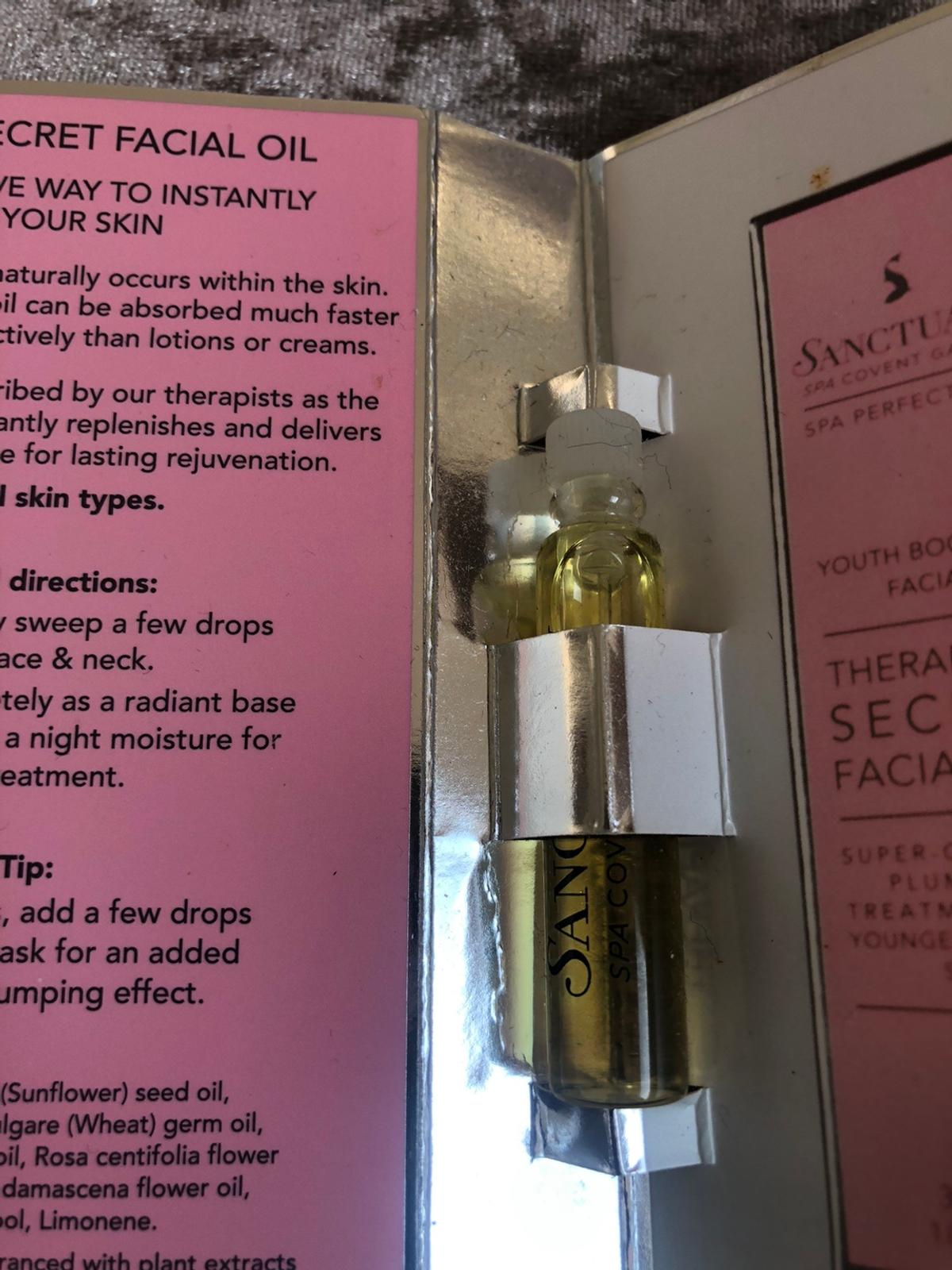 Facial oil in sample/tester size Collection only