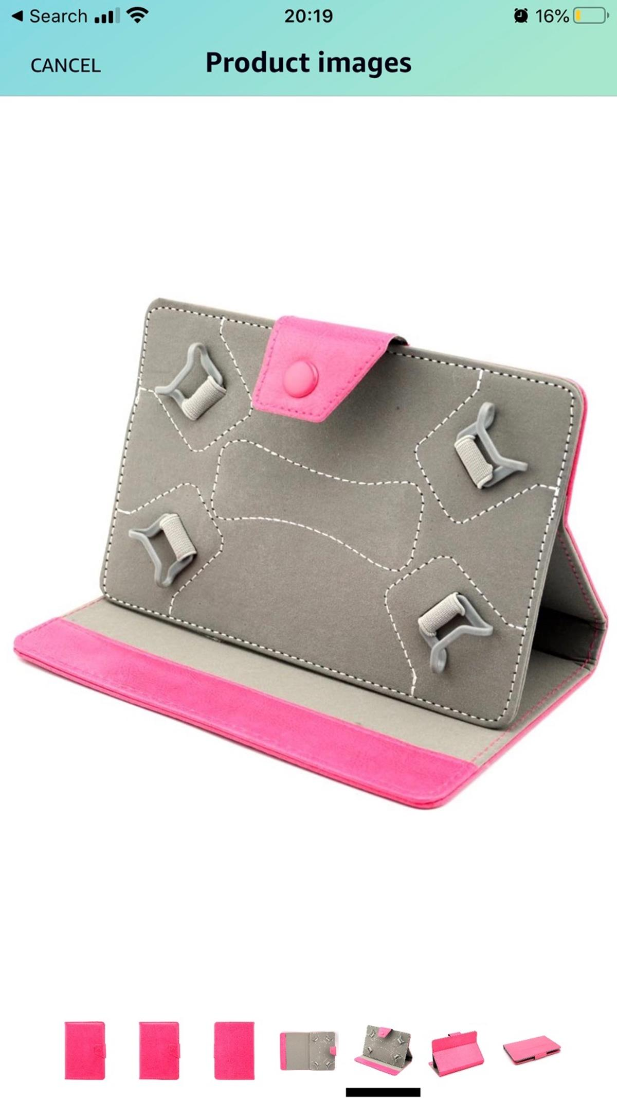 Made for use with any 7 and 8 inch Screen tablets such as Amazon kindle , Samsung, Google tablets. Uses 4 Curved Corner Grips to keep your Tablet firmly in place. Tablet case comes with a color crystal stylus pen. Never opened.