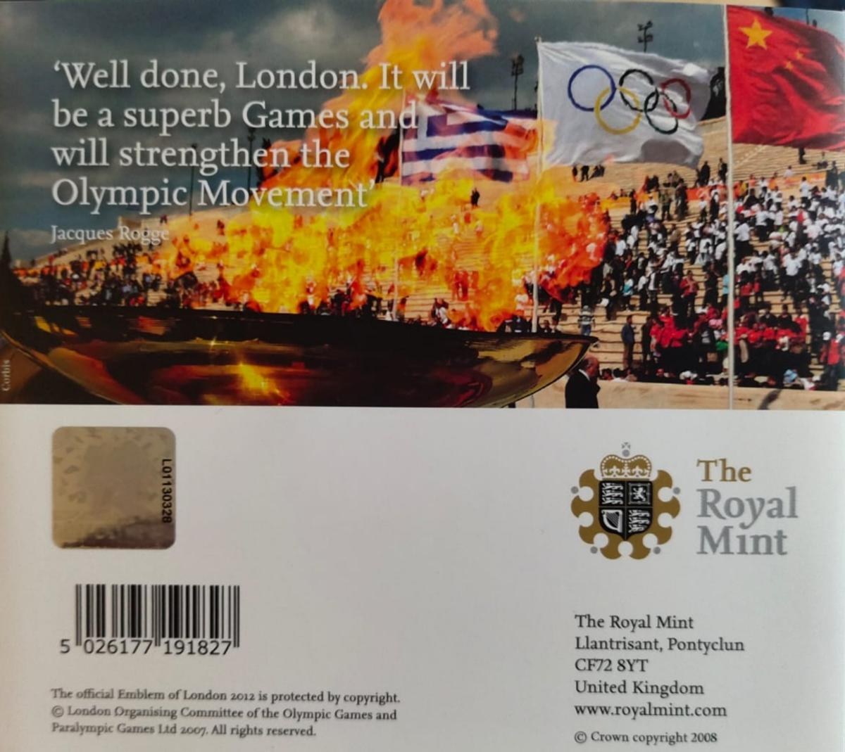 1 superb £2 coin in mint condition issued in 2008 to celebrate the Olympic Games Handover Ceremony Beijing to London. It is a official coin issued by the Royal Mint and preserved in original packaging.  No exchanges and no refund.