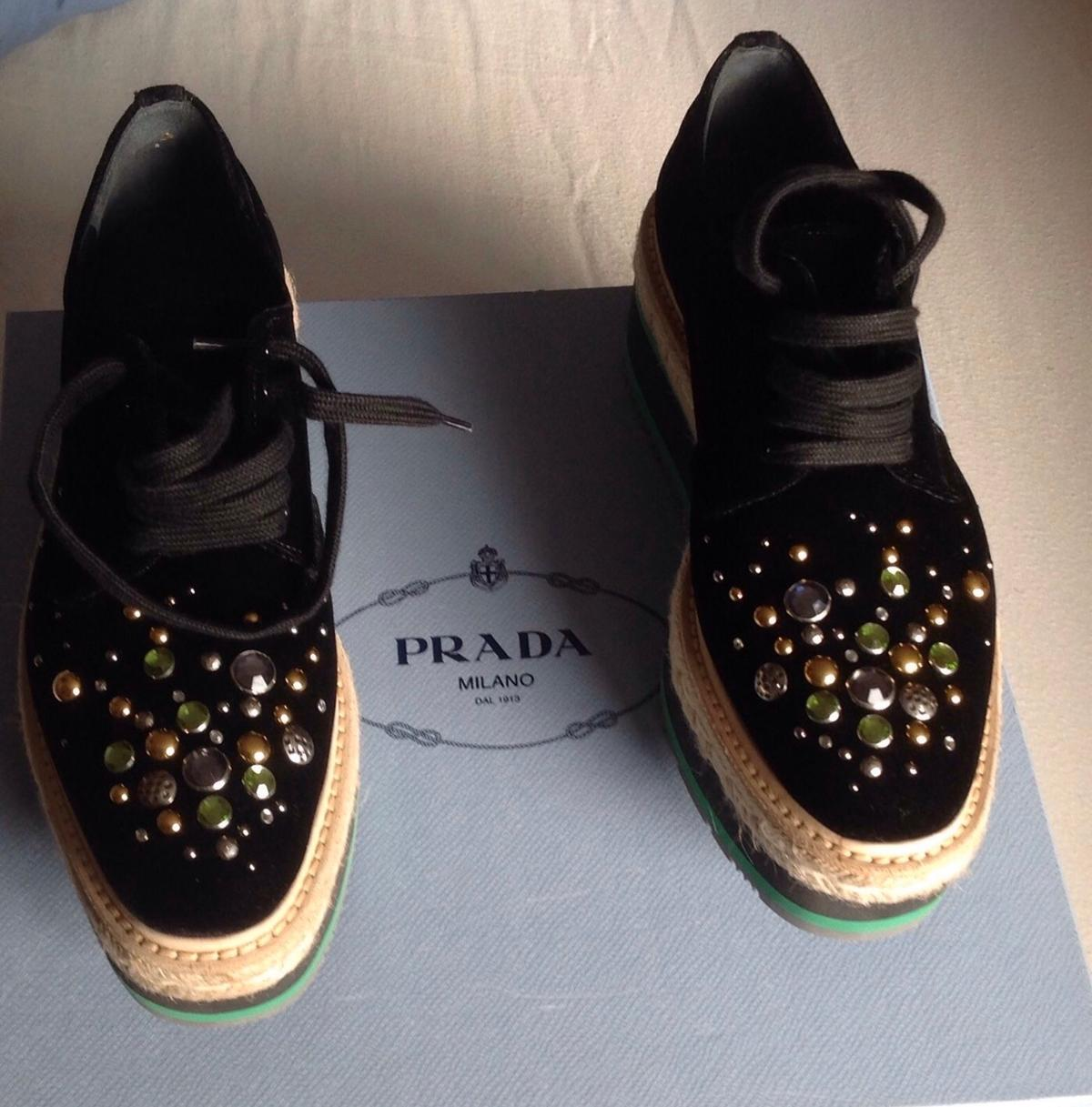 BNIB PRADA Women's Platform Velvet Derby - Donna Wedge Shoes  Size : 36 RRP€750  Please check your Size before purchase and no time wasters please? Only reasonable offers please?  Will post but with Royal Mail secured delivery