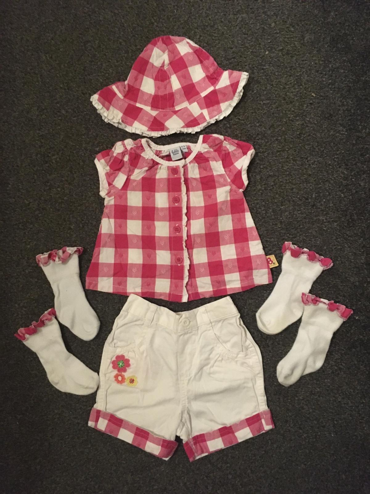 Babble Boom @ Debenhams Baby Girls Summer Outfit; Hat, shirt, shorts & 2 pairs of socks.  0-3 months  Perfect condition