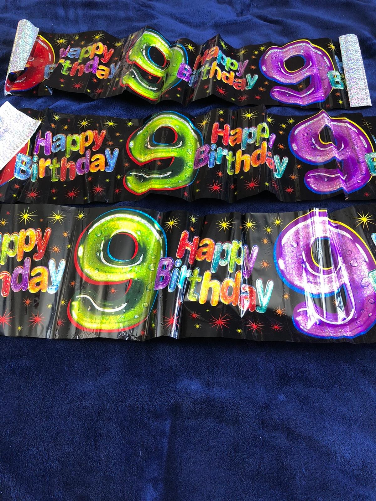 3 x small Happy 9th Birthday banner. Collection only from Dudley DY1 - sorry no posting or delivery. Check out my other items.