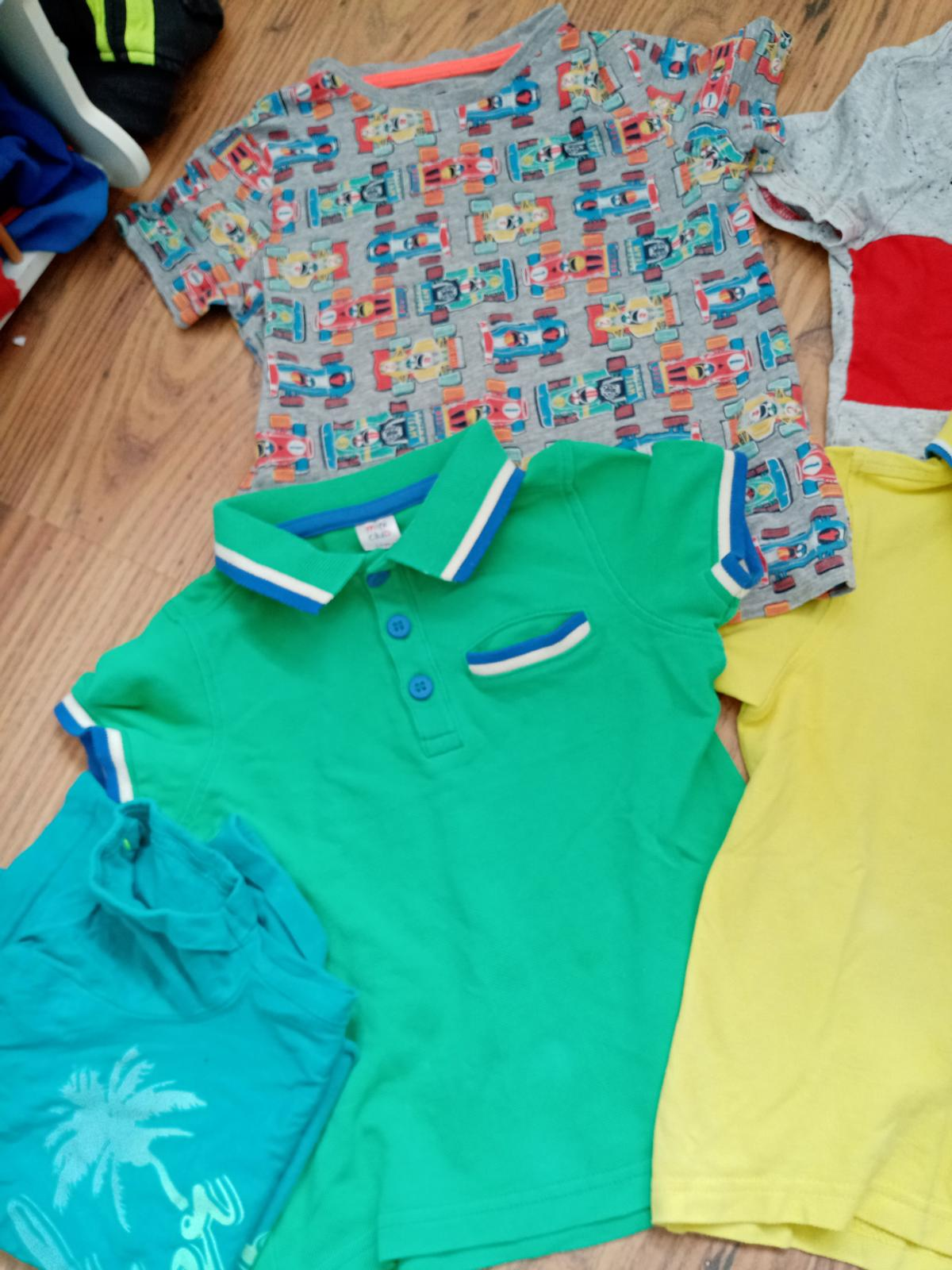 Next and mini club, all 4 in very good condition, lightining McQueen top, 2 x polo plus one free green ff top with small Mark x