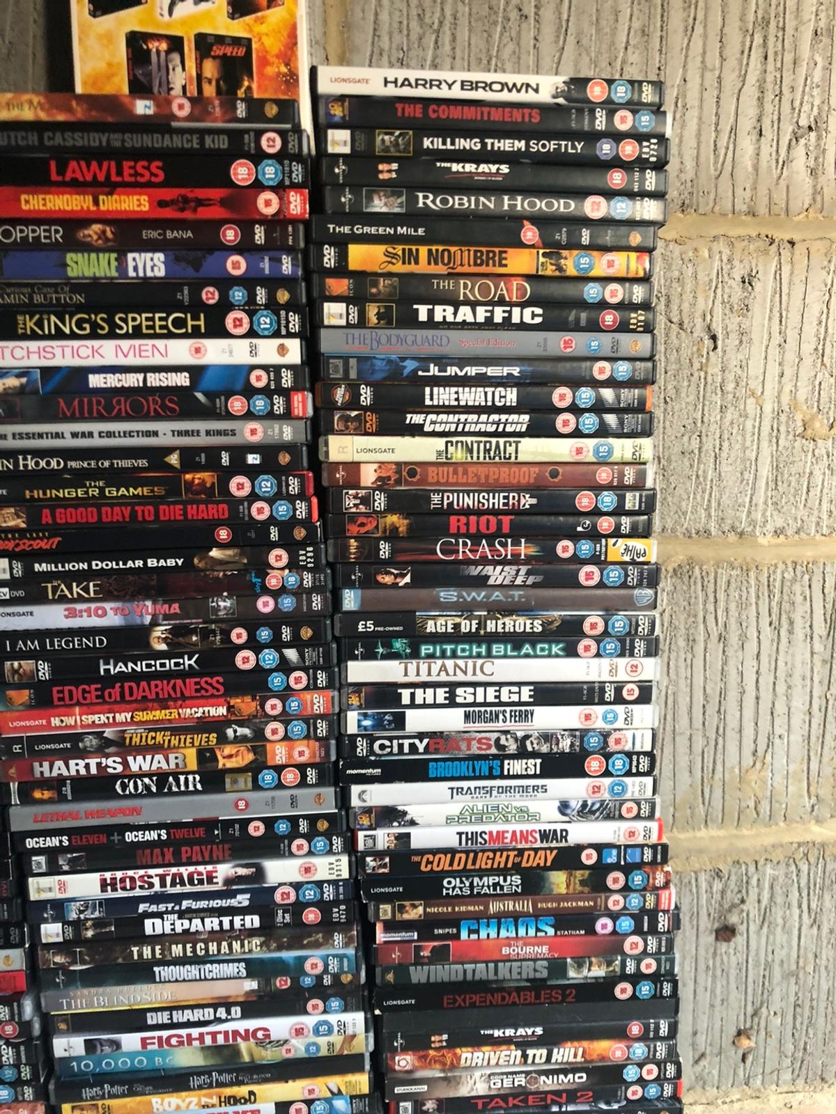 over 70 classic action dvds mumma mia brand new in packet. grab a bargin !! contactless collection all boxes wiped with disinfectant!
