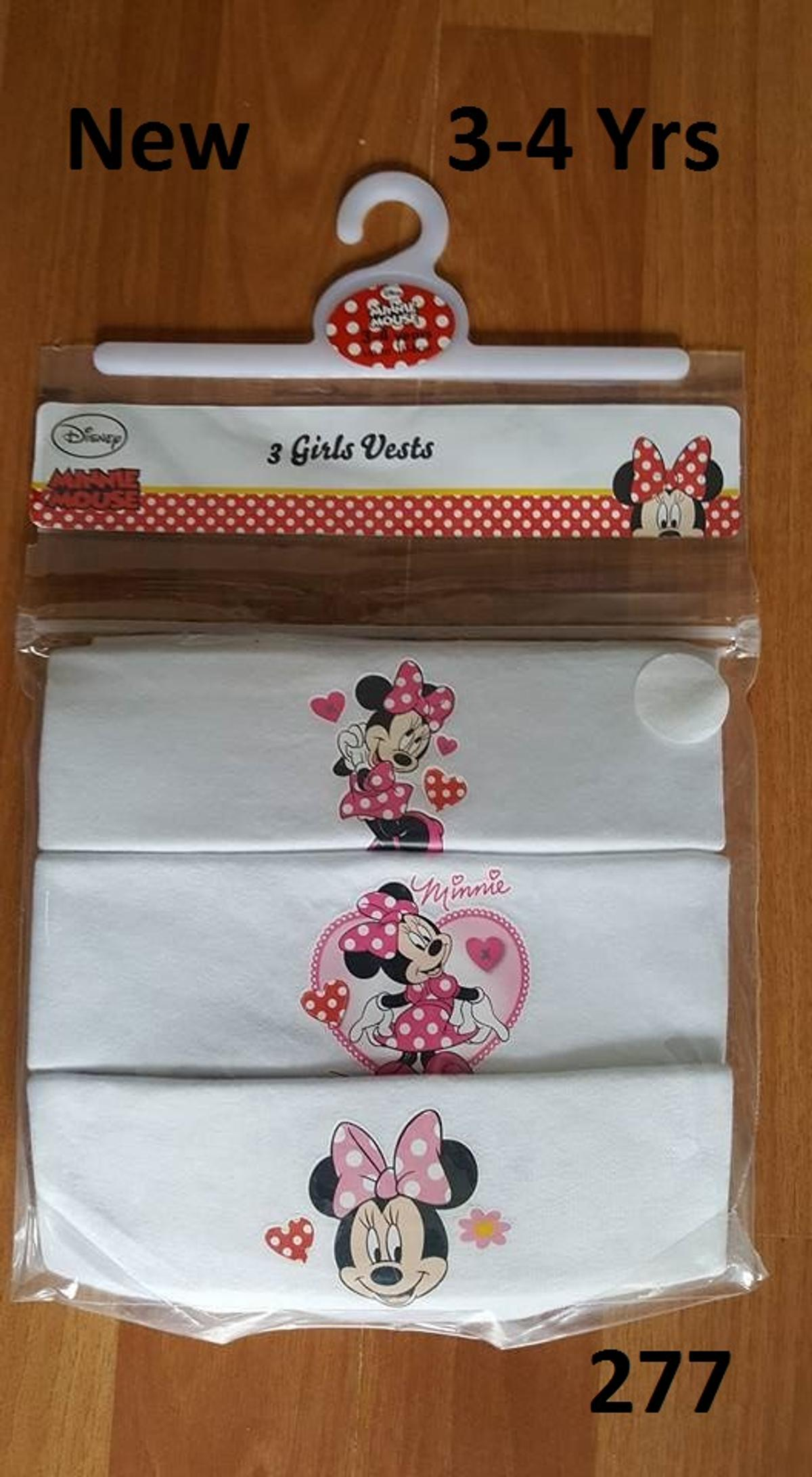 Brand New in Packaging Disney's Minnie Mouse Vests with a pink design in the middle in size 3-4 years. Pack of 3 vests. Have more children's items available. I do NOT sell anything that I wouldn't want to receive myself. Selling elsewhere too. Collection from Shefford. Could possibly post within UK at your cost. Ideally bank transfer or Paypal payment through friends and family ONLY. Social Distancing rules apply. £4.00. (277).