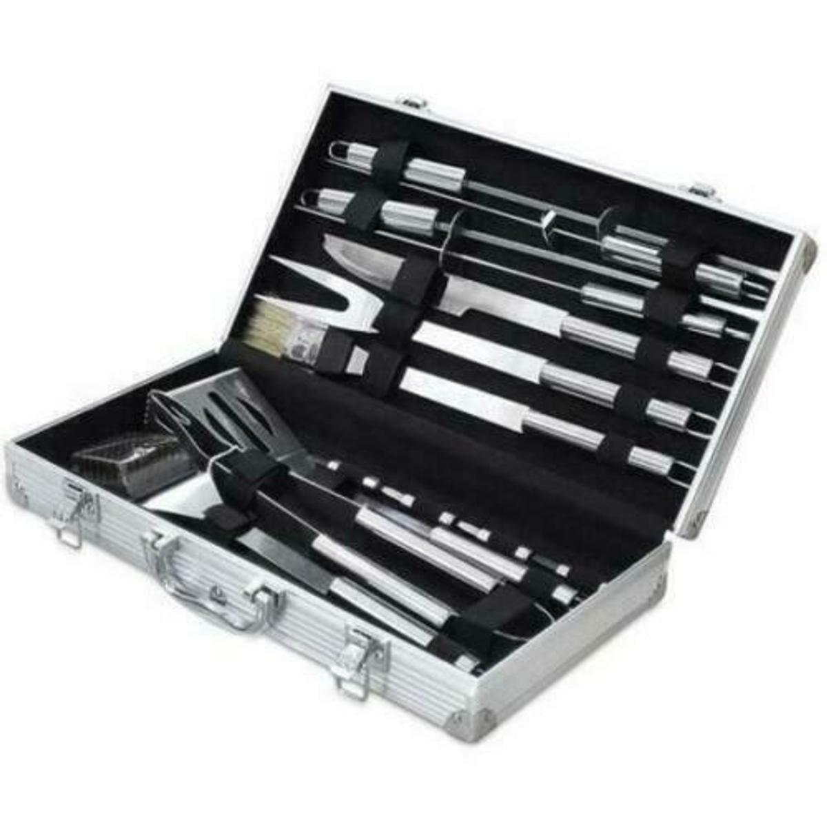 A great Barbecue Set for real barbecue enthusiasts! This comprehensive 18 piece BBQ Set comes in a handy easy to carry aluminium case. . It can be used at home, at the beach, or when camping. Ideal when cooking those tasty steaks, delicious sausages, or an assortment of vegetables.  18PC Package Includes:  1 x Tongs 1 x Meat Knife 1 x Meat Fork 1 x Grill Cutter / Slicer 1 x Basting Brush 1 x Cleaning Brush 4 x Skewers 8 x Corn Skewers  Item sent via Royal Mail first class signed for
