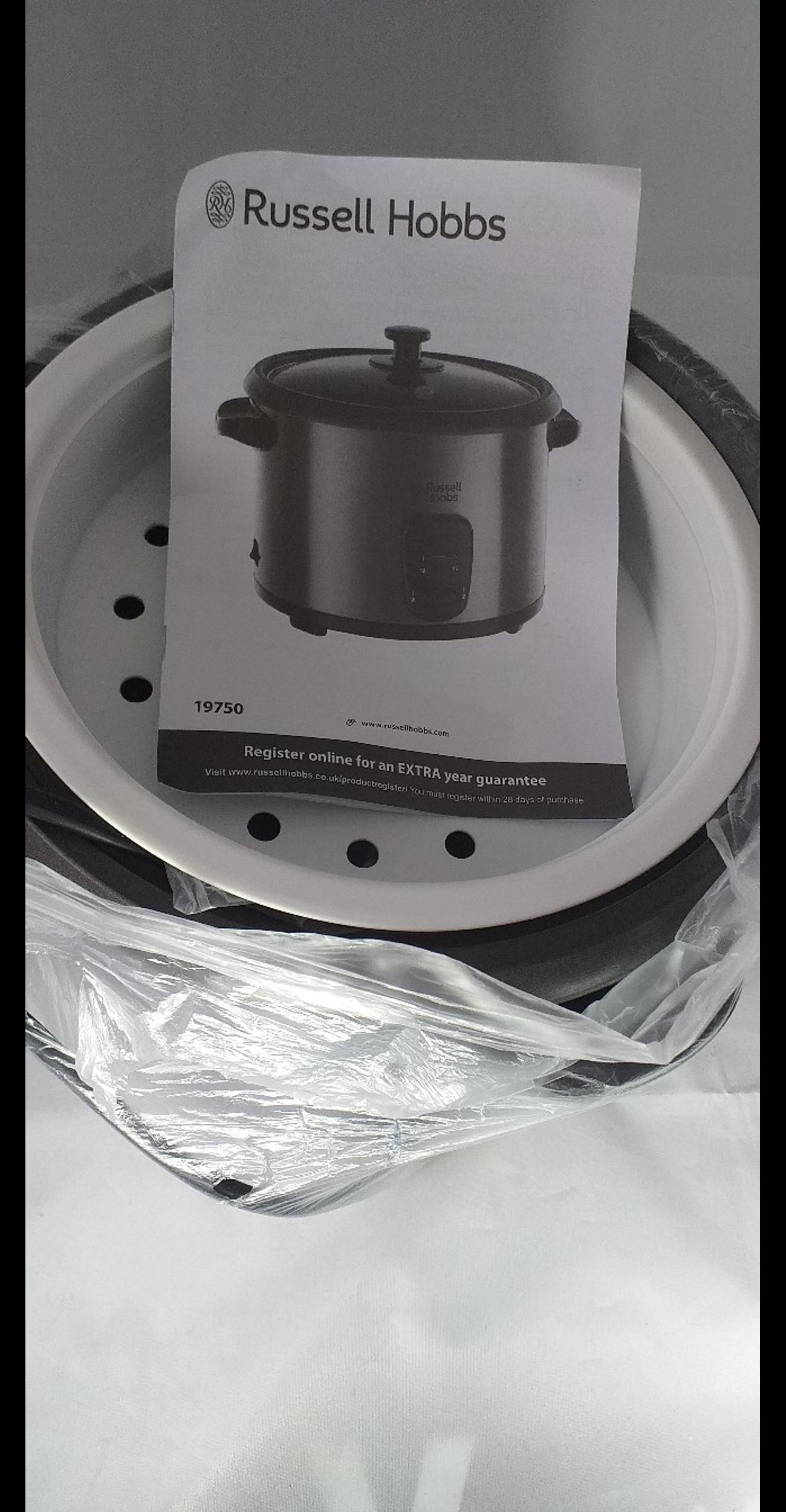 . LARGE 1.8 LITRE CAPACITY BOWL WITH HANDY KEEP WARM BOWL FUNCTION- ENOUGH FOR COOKING TEN CUPS OF RICE. .INCLUDES ADDITIONAL TRAY FOR STEAMING FISH OR VEGETABLE. .NON-STICK REMOVABLE BOWL.  .ELEGANT AND EASY TO CLEAN STAINLESS STEEL BASE WITH A GLASS LID. PLEASE NOTE THE MEASURING CUP IS MISSING.