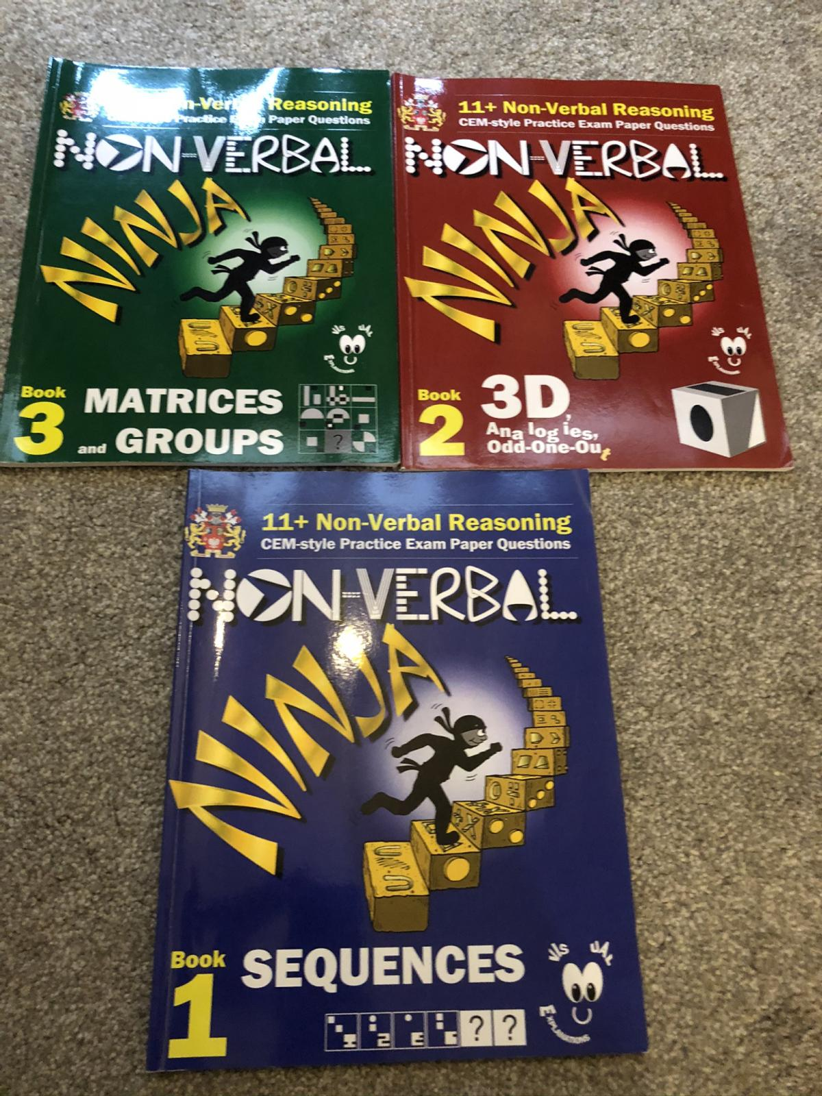 3 x Non verbal books Matrices and Groups, Sequences, 3D(Eureka Eleven plus) Excellent condition - new Comes from a smoke free pet free home