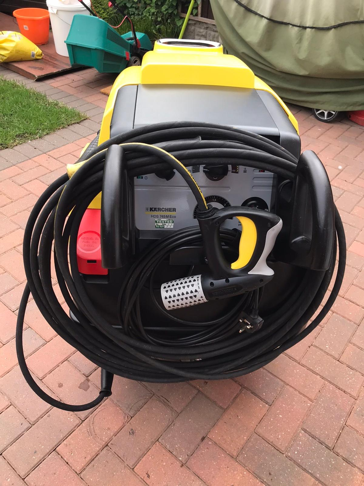 Most sought after, very reliable. Exceptional new condition. Only been used for domestic cleaning since purchased new. 240v 100 Bar pressure (Max) with 350-700 litres of Water Flow Rate Connected Load 3.2Kw Fuel tank 25 Litres( Diesel or Kerosene) Detergent Tank 20 Litres 4 Pole Electric Motor Easy Press Trigger Gun with Variable Servo Control (Water/Pressure Adjustment) Original Operation Handbook 20 Mtr (2 x 10 mtr) Karcher OEM HP Hose Karcher OEM Dirt Blaster Attachment Collection only