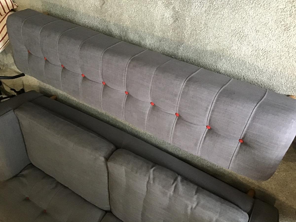 Large sofa L225cmx92cm( 4 seater),cuddle chair 130cmx92cm, reading chair 92cmx88cm and long stool 180cm. 4y old, DFS. Good cond. No stain, tears or marks. From pet and smoke free home. Collect from HD4. Can be sold separately.