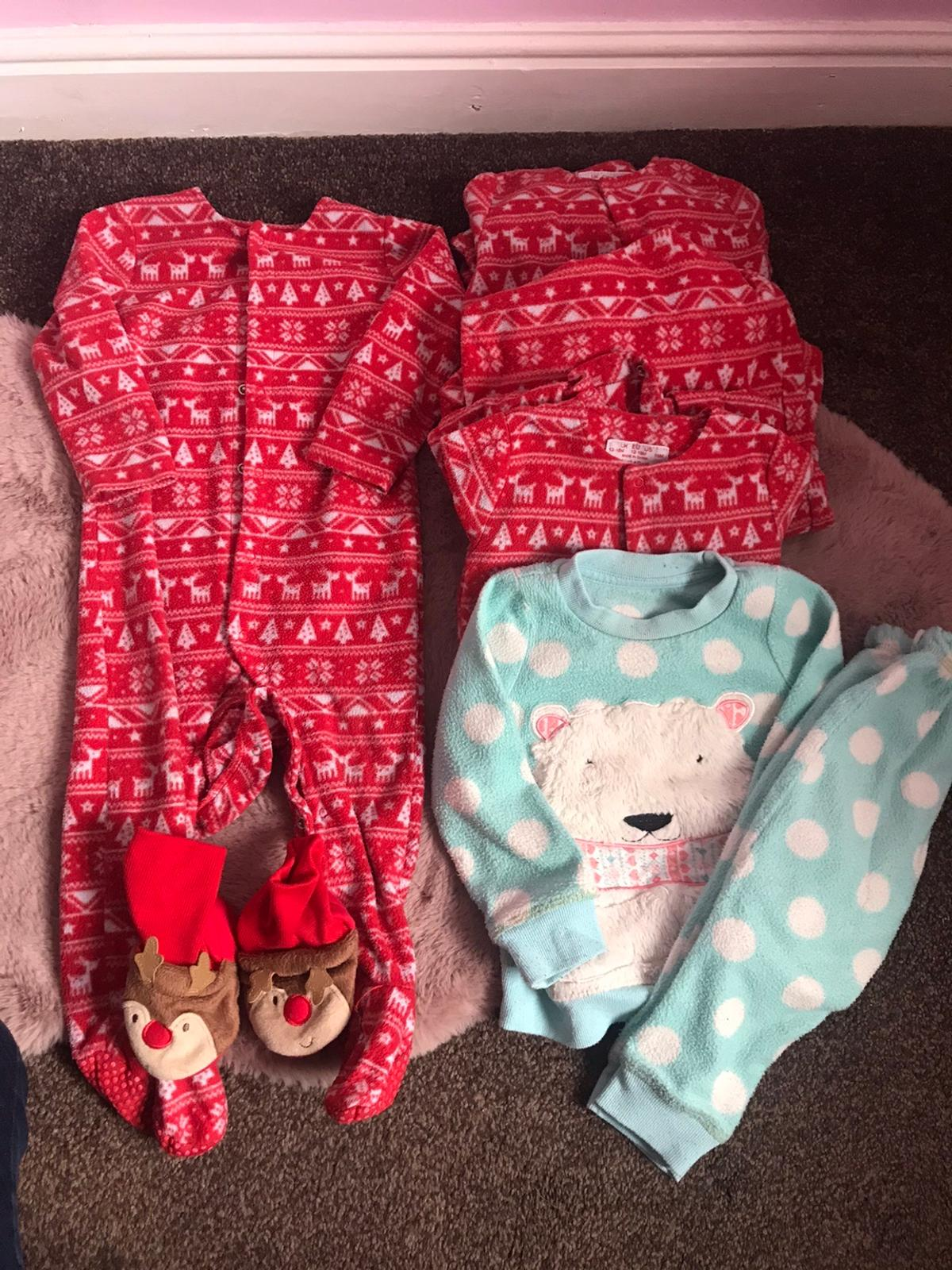 4x sleepsuits 1x pjs Reindeer booties £3 for all Collection Kirkby in Ashfield