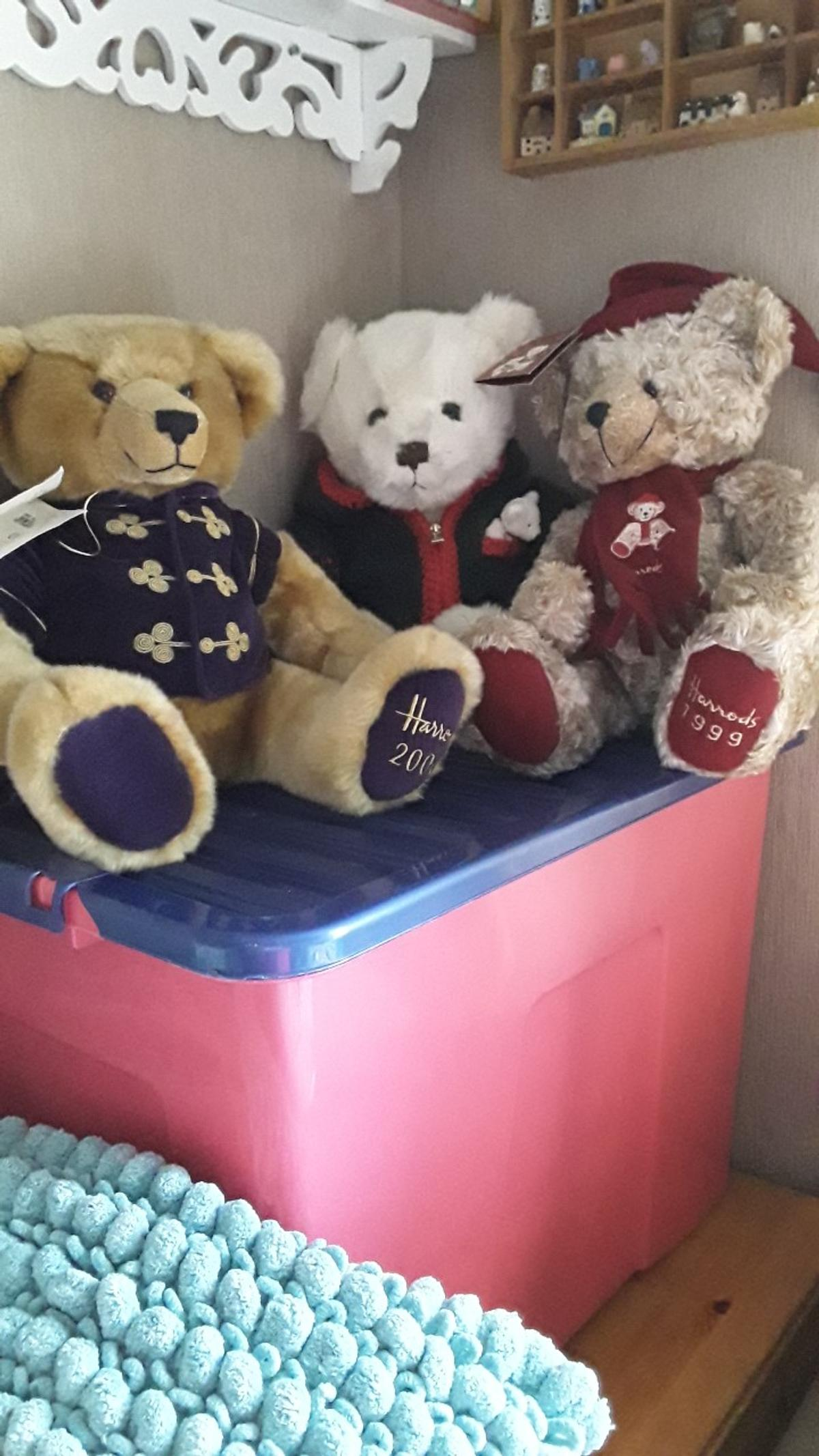 Three collectable limited edition Harrods bears 1999,2000 and 2006,all in good condition from smoke and pet free home. The Millennium in purple jacket with tag attached.  Alexander 2006 with cardigan and small bear in his pocket and tag attached.  1999 in curly fur with christmas scarf and hat
