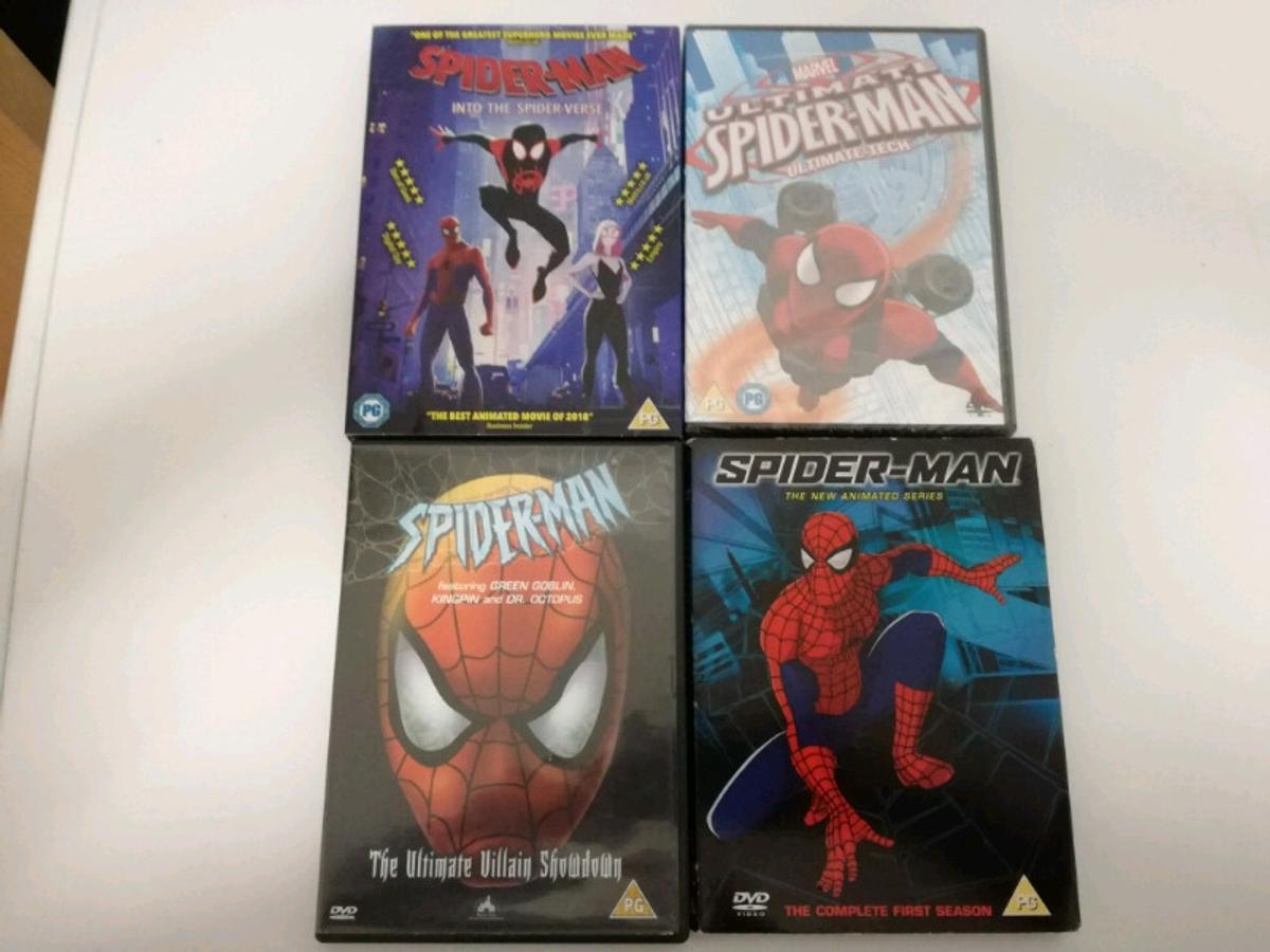 4 Marvel Spider-Man Dvds for £15 Dvds include Spider-Man into the Spider-Verse Ultimate Spider-Man Ultimate tech (Brand new sealed Spider-Man The ultimate villain showdown Spider-Man the new animated series the complete first season