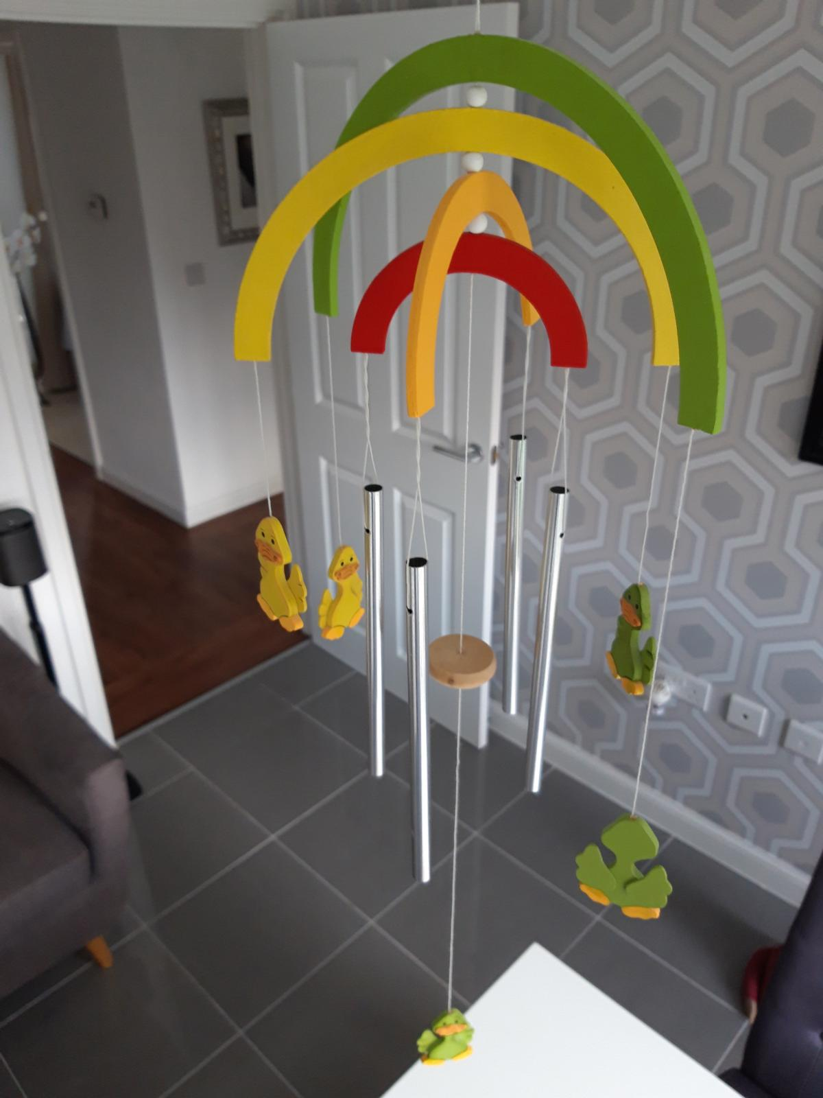 Rainbow baby cot mobile with ducks and chime bars