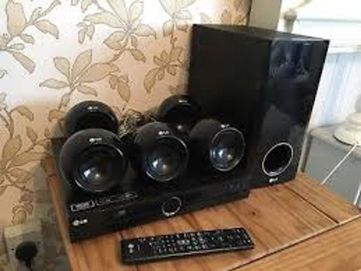 LG 5.1 DVD home cinema system  1080p Full HD Picture Quality VSM (Virtual Sound Matrix) Dolby Digital Pro-Logic II MP3 CD-R/RW  KEY FEATURES  Room SizeSmallSpeaker positionFront and RearVideo Signal OUT HDMI Out 1080P upscalingYesHDMI 1080p UpscalingYesFront speaker sound output (Initial Max Power)45W x 2(4Ω)Centre speaker sound output (Initial Max Power)45W (4Ω)Rear speaker sound output (Initial Max Power)45W x 2(4Ω)Subwoofer sound output (Initial Max Power)