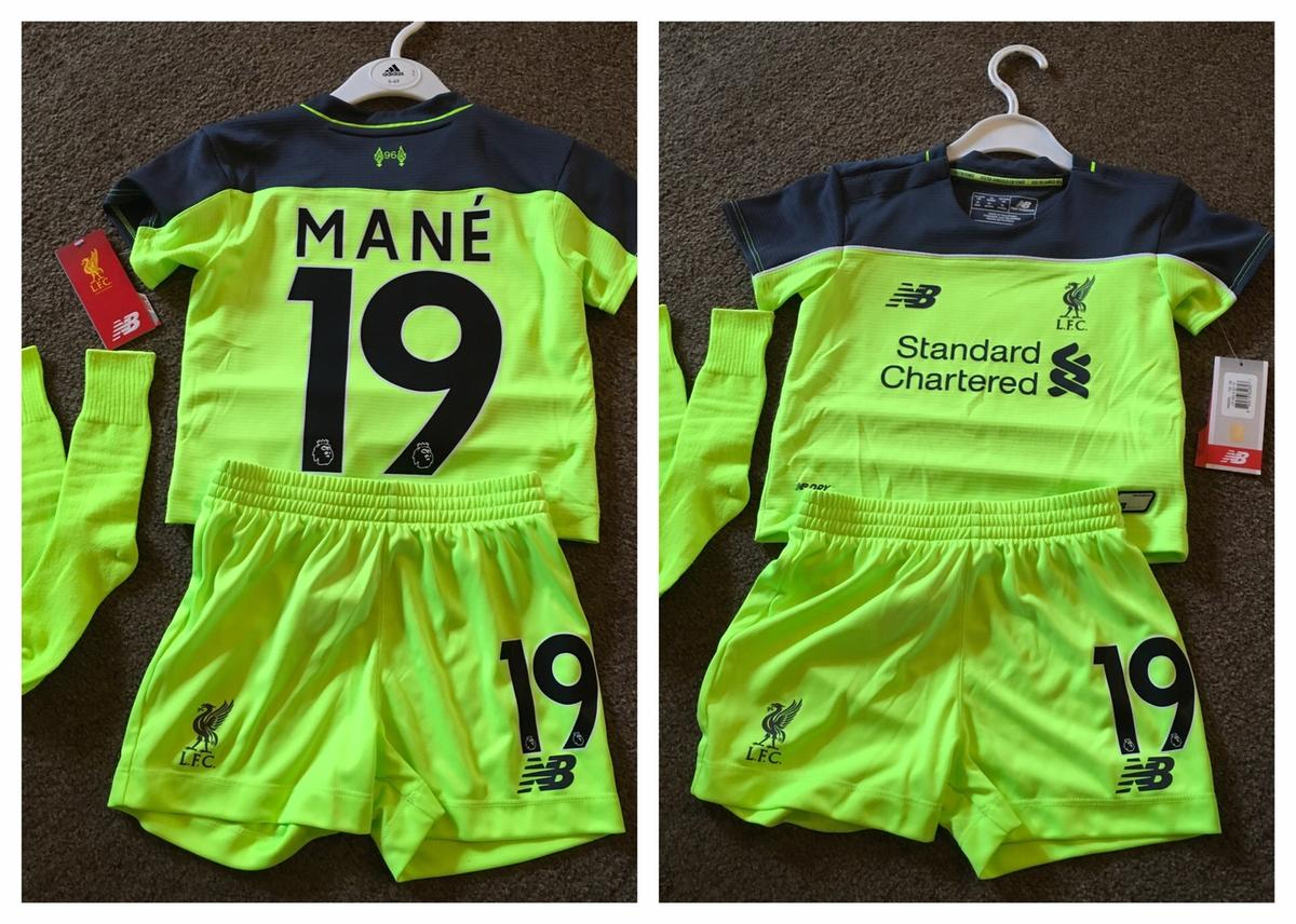 Liverpool away kit kids age 18-24 months old MANE #19 brand new tagged unworn stunning looking kit shirt shorts and socks set P&p£2.99