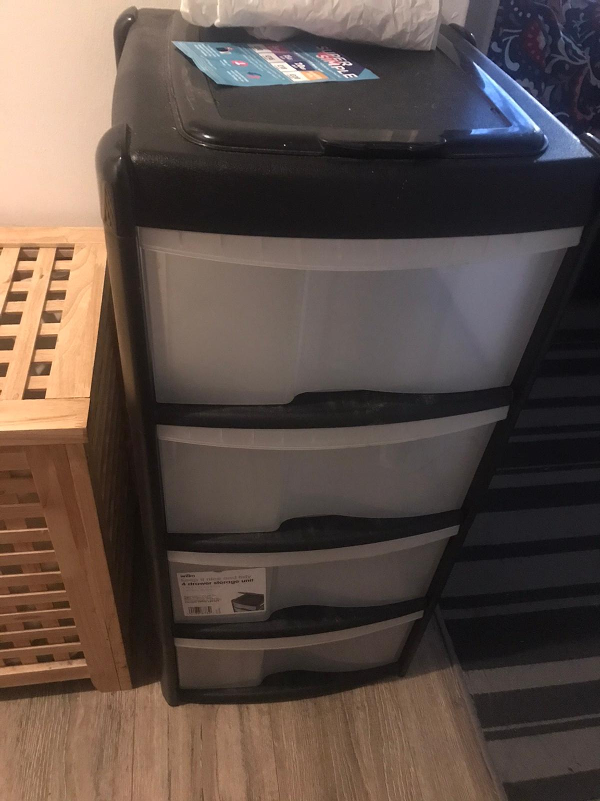 Black unit with 4 clear drawers and small storage compartment on top. £15 in wilko