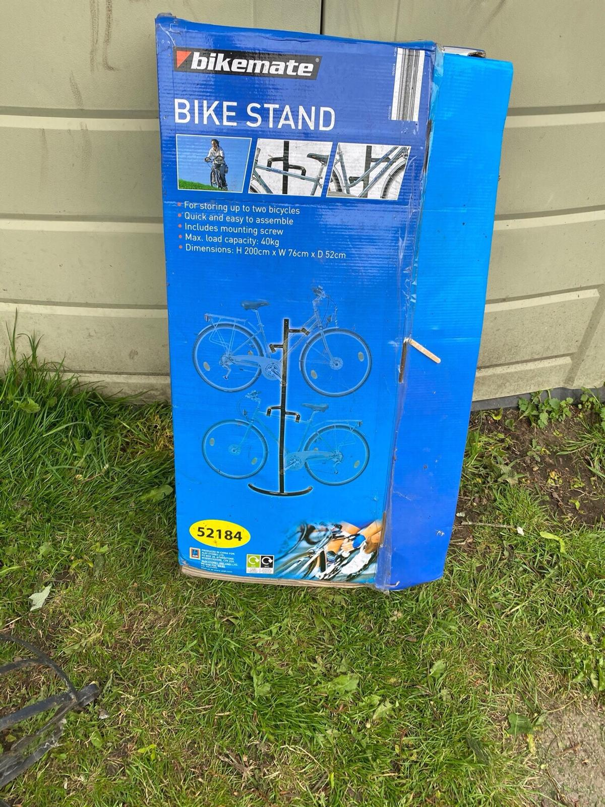 Unused Bike stand for 2 bicycles everything complete ready to assemble. Box is a bit tatty but item is in an unused state .  Thank you for looking at our posting COLLECTION ONLY