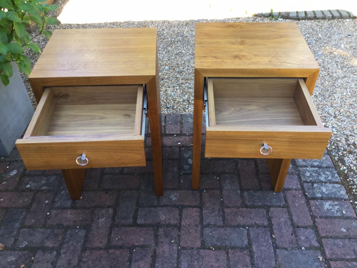 Pair of Walnut Veneer Bedside Tables Front drawer in each , drawers are solid wood Metal runners on drawers Small signs of wear, otherwise good condition  45cm wide, 40cm depth. 70cm Height