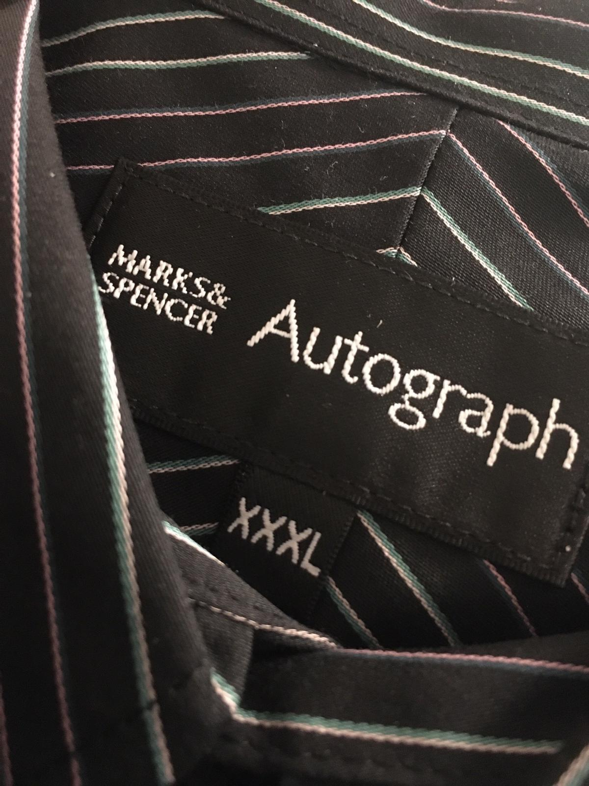 100% Cotton Long Sleeve Autograph Range XXXL Striped Shirt colours: black, white, green and purple Button cuffs To fit Chest 50-52 inches To fit 18.5 inch collar size NEW in packaging with tags attached  RRP £29.50. Selling for £14