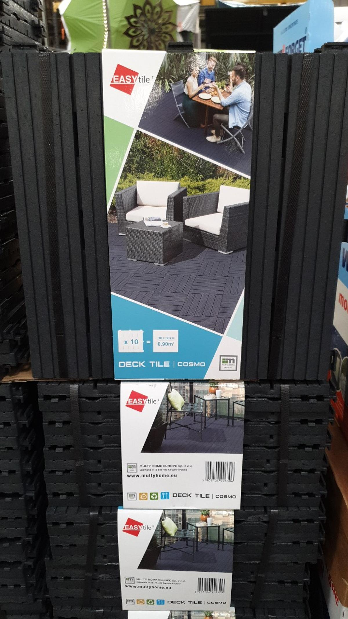 Renew and resurface any outdoor living space: balcony, deck and patio. Quick-click connection system makes it easy to install and keeps tiles secured together. Designed with drainage channels to ensure water and debris quickly flows off the top surface. Environmentally friendly – made from recycled materials.  Package :Pack Of 10 (30 x 30cm) Deck Tiles.each pack of 10 tiles covers 0.90 square metres.