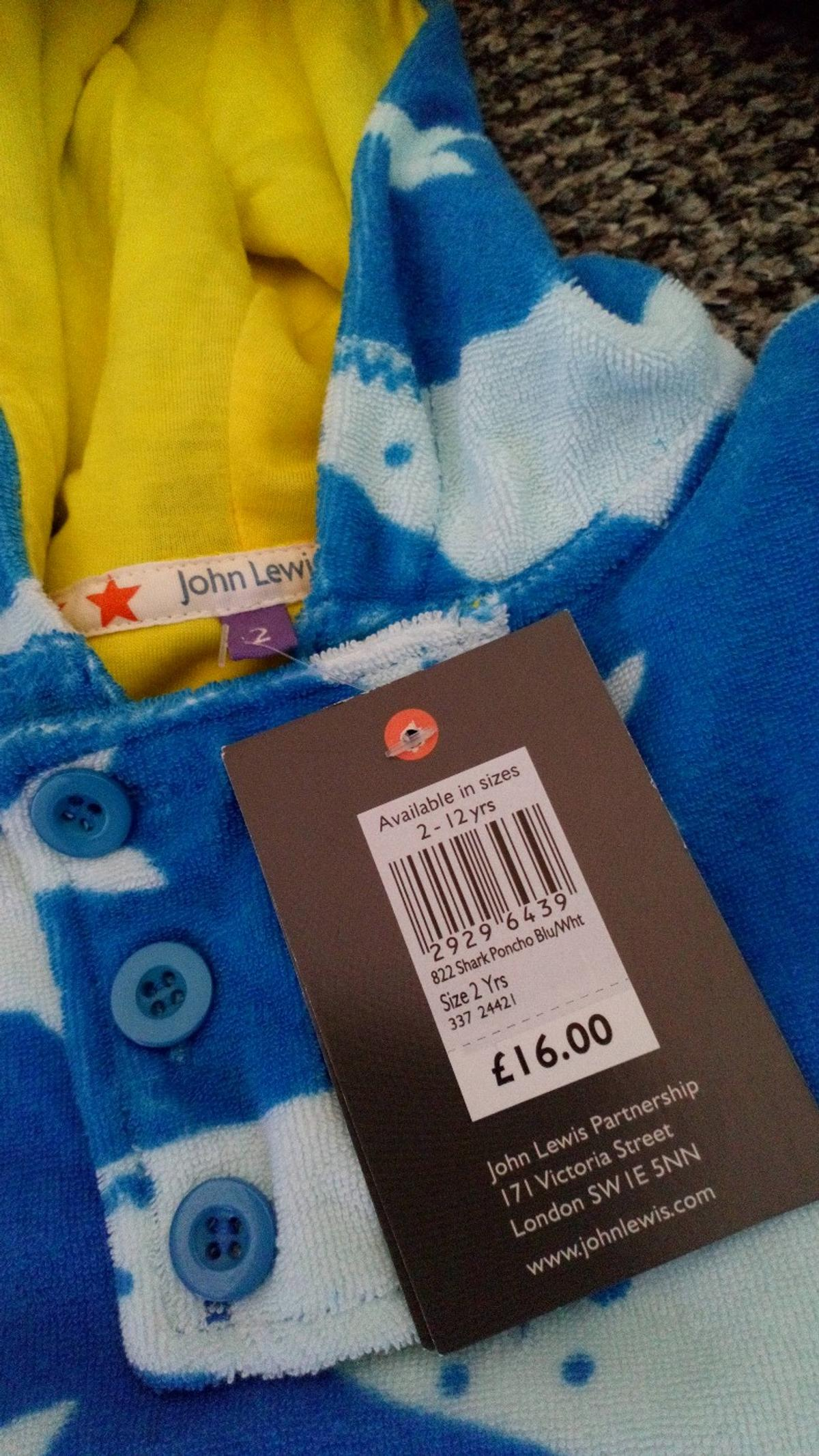 """John Lewis. Unworn, still with tags. Smoke free home. Age 2 years (Height 92cms/36"""")"""