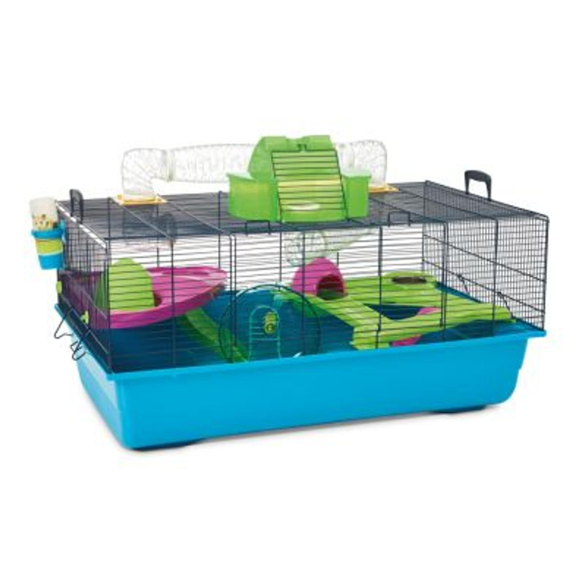 This spacious Savic hamster cage has everything your little hamster's heart desires. With lots of included accessories, this cage will be your hammy's dream home! Watch your hamster scurry through tunnels or nestle up in his very own roof-top penthouse. The extra-high base tray is great for burrowing and prevents litter flying out, so your hamster can dig to its heart's content. Hide small treats and snacks and watch your hamster dig them up!  BRAND NEW Blue: 80 x 50 x 50 cm (L x W x H)