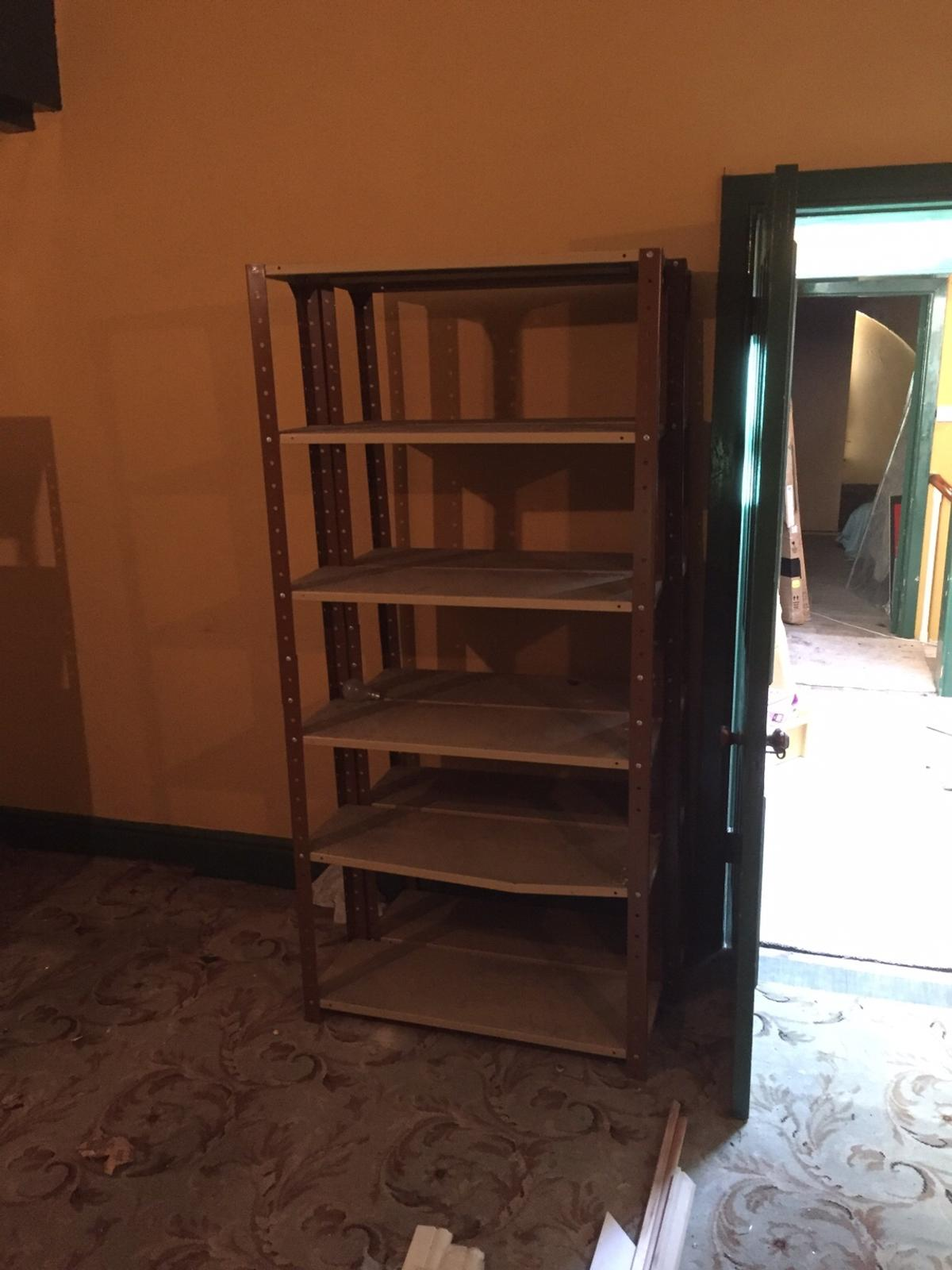 There are 11 units in total. These are substantial metal racking units that can be used in a garage or spare room to store items. They can be dismantled . 9 of the units are 165cm h by 70cmw  2 of the units are 185cm h by 88cmw Buyer can collect or two units can be delivered at one time. Also buyer can dismantle if want to collect in a car.Price is for one unit.