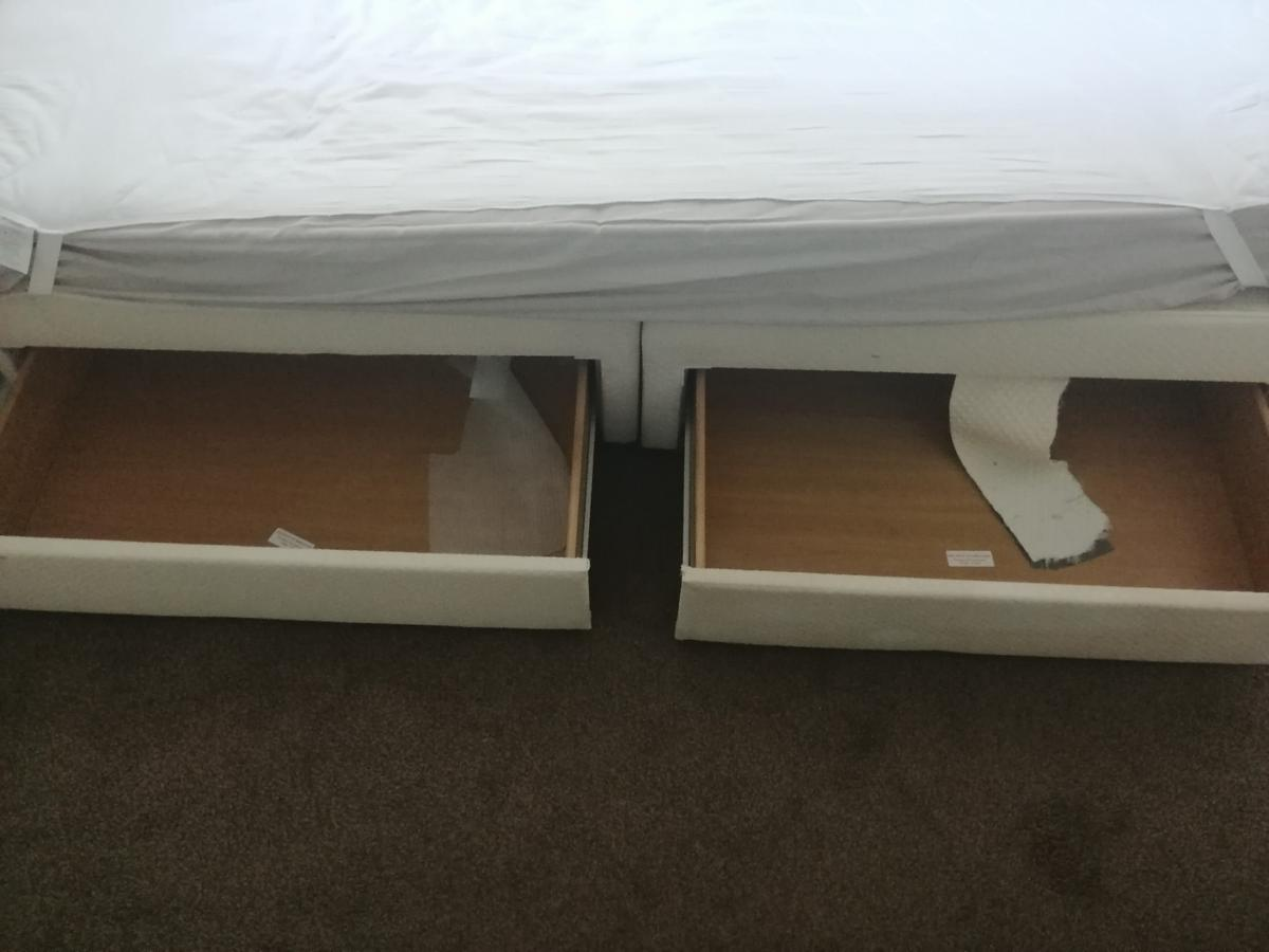 Double bed, with mattress and two draws