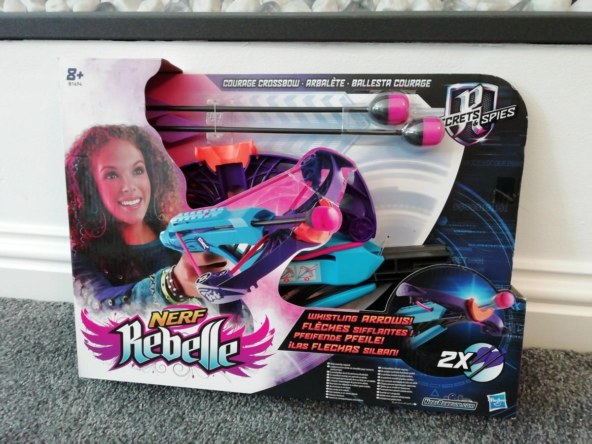 Brand new in box so perfect gift. Nerf rebelle courage crossbow. Sell for around £20-£25 online selling for £15 no offers thanx Collection Penn Rd Wolverhampton by hollybush pub from smoke and pet free home