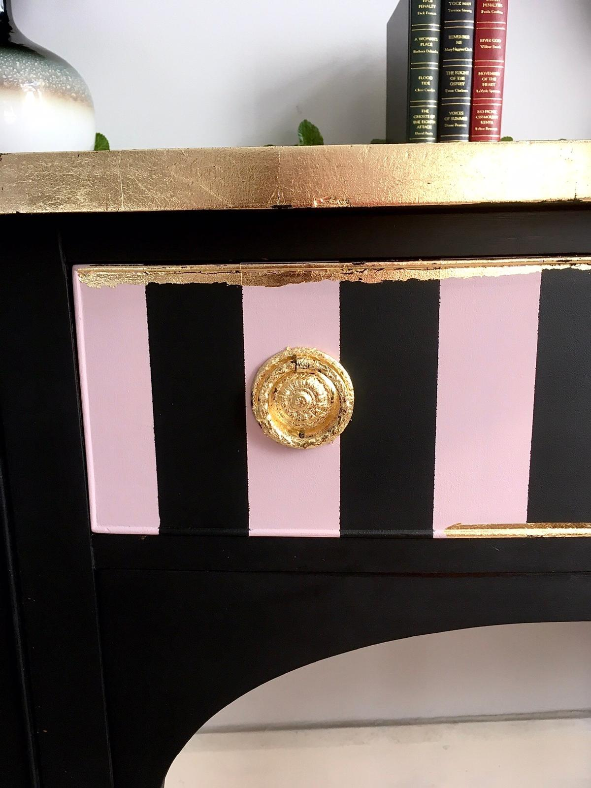 Unique Vintage Hand Painted Sideboard Cabinet Dresser Perfect Condition Lock's and Key working Hand Painted in Pitch black Annabell Duke Mineral Paint and finished with metallic gold leaf .  Measurements : Width 144 cm Depth outside 58 cm Height 92 cm  Very good , solid, clean condition . Local Delivery avaliable for little charge. Cash on collection.  Courier charge might change depends of your postcode. Please contact with me before final decision.  Collect from KT3 3EB .