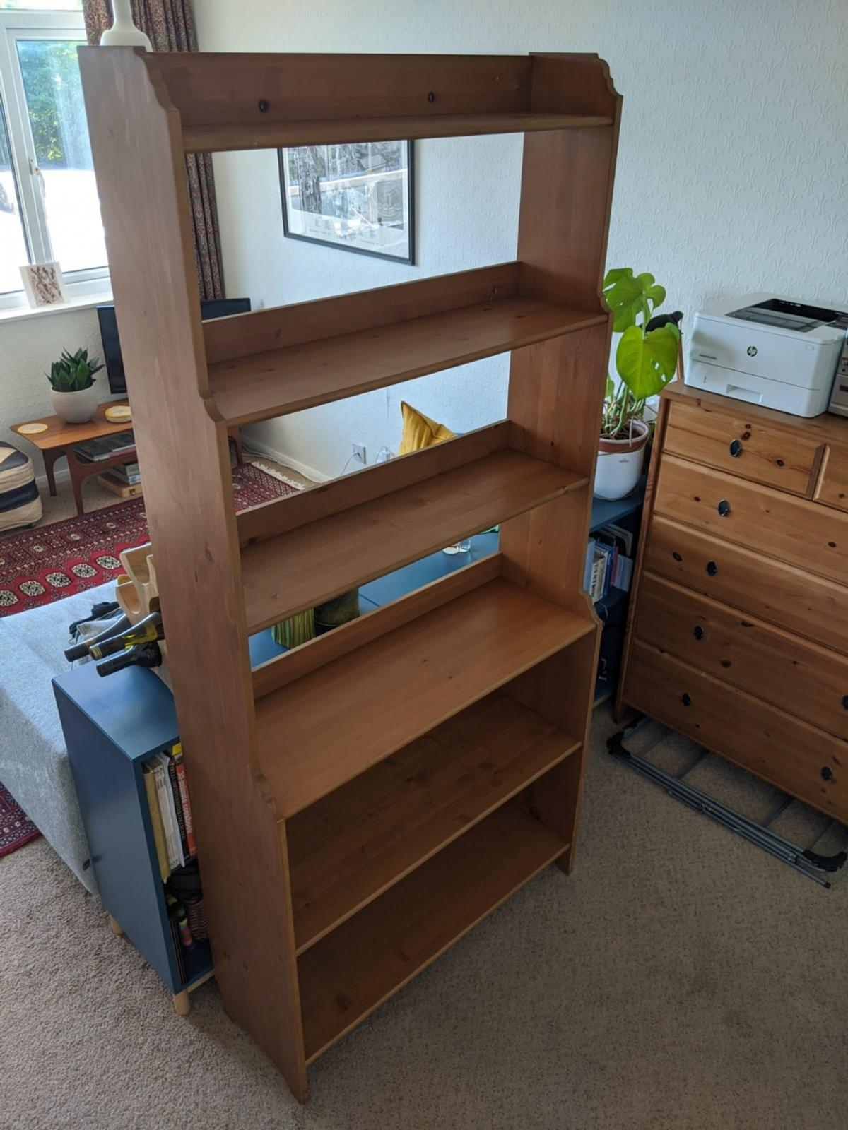 IKEA Leksvik solid pine bookcase with 6 shelves. In very good condition. Useful for filing and storage as well as books.  Dimensions:W: 93cmD: 32cmH: 198cm  Collection only but social distancing will be observed.