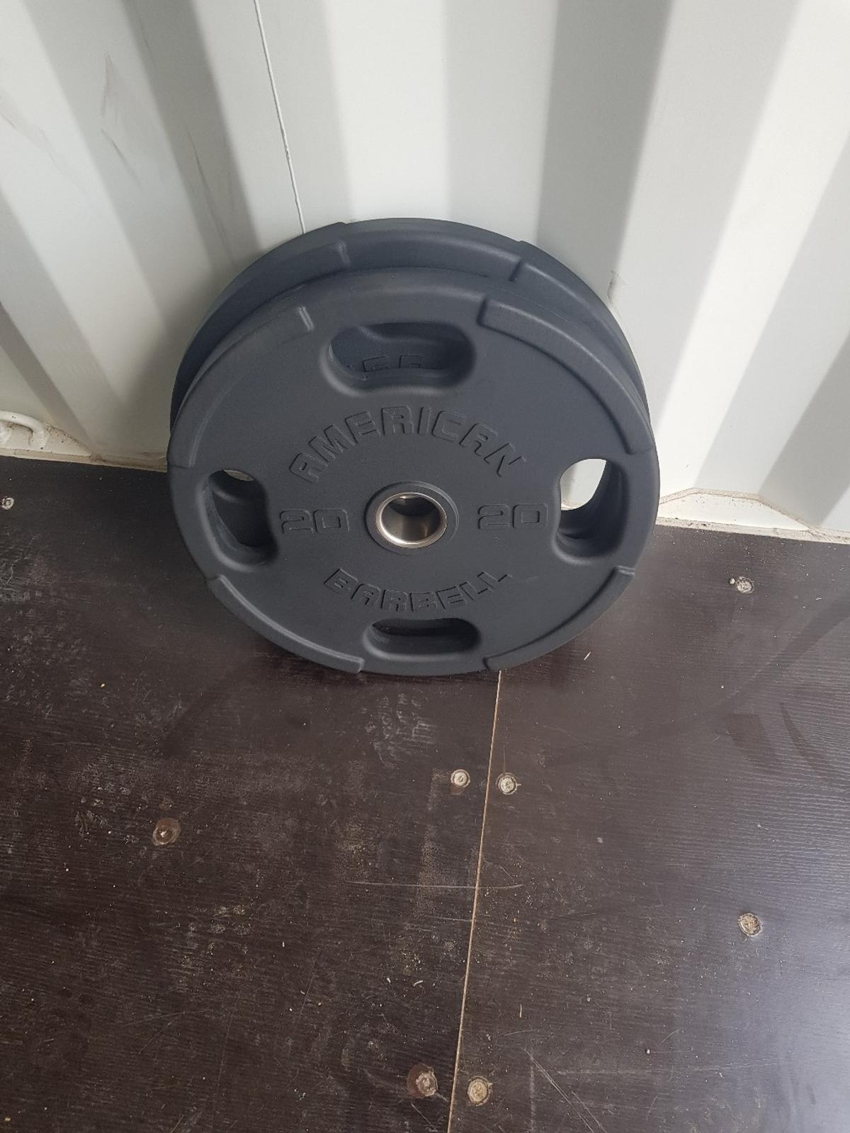 """New American Barbell weight plates. Commercial gym quality plates Olympic size plates 2"""" (50mm) diameter holes £65 per plate"""