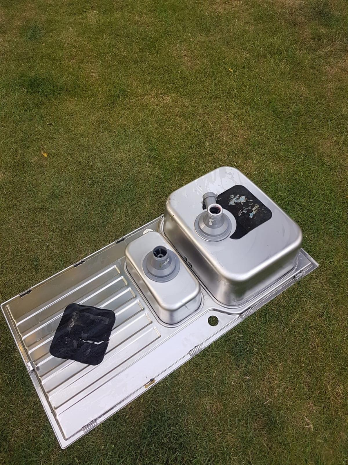 Stainless steel double inset sink 1000mm wide good heavy quality not been used stored in shed these are £170 new