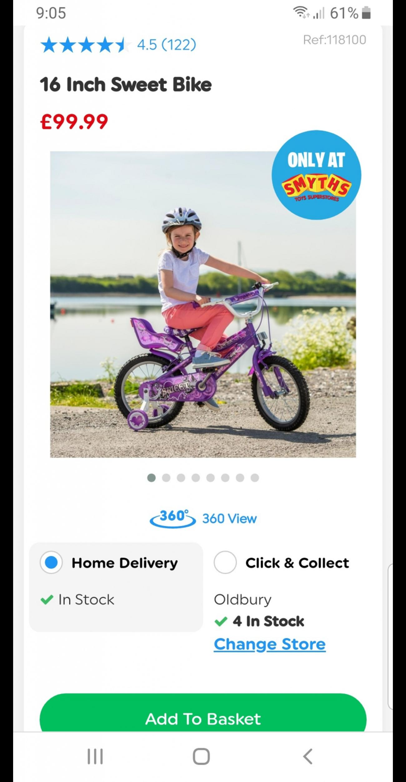 Great little bike that comes with stabilizers and also seat for favourite teddy or doll.