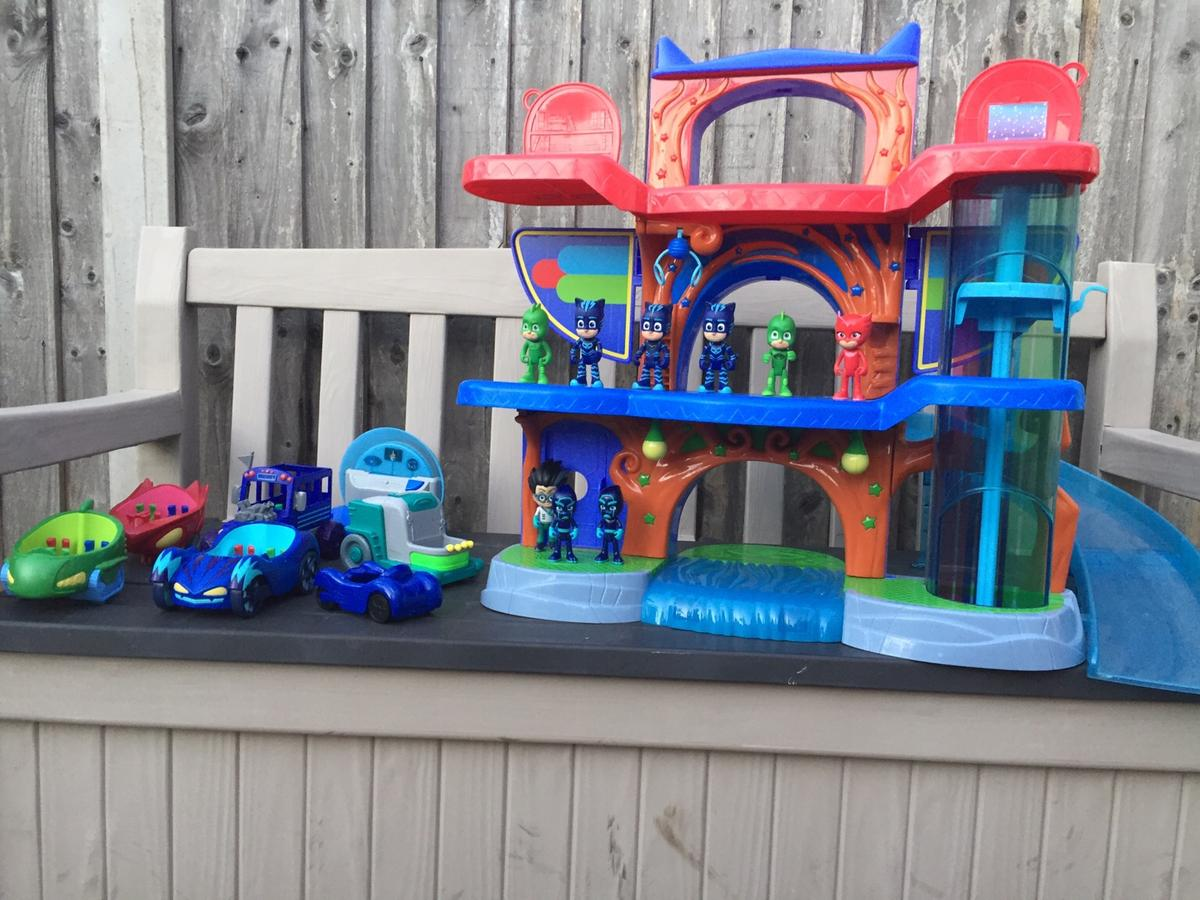 PJ Masks tower, figures and vehicles.  Collection only. Sold as seen.